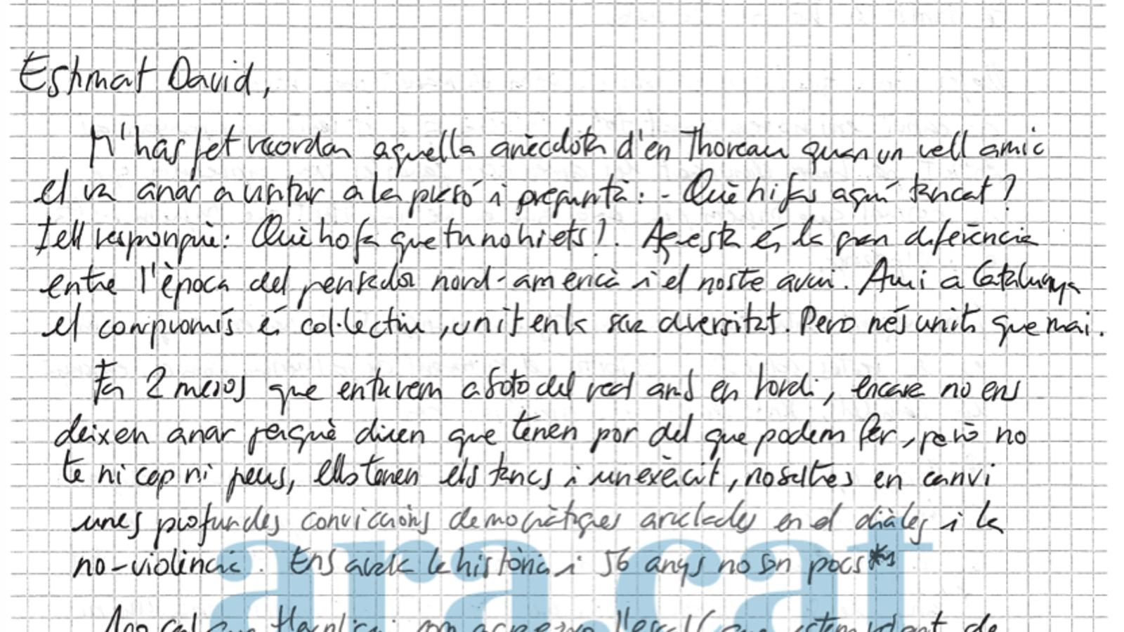 Llegeix aquí la carta de Jordi Cuixart