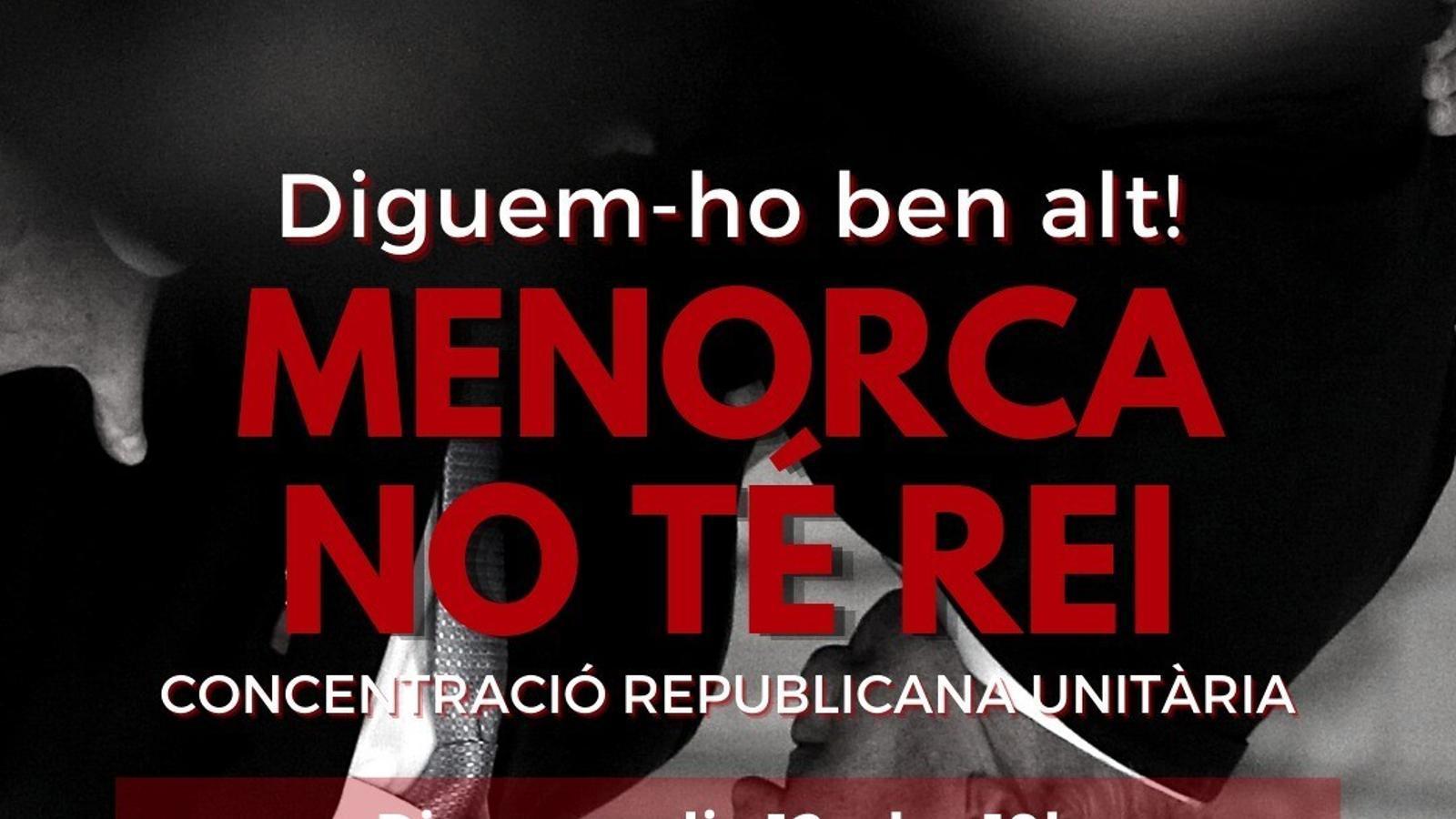 La doble concentració de demà obrirà els actes de protesta a Menorca contra la corona.