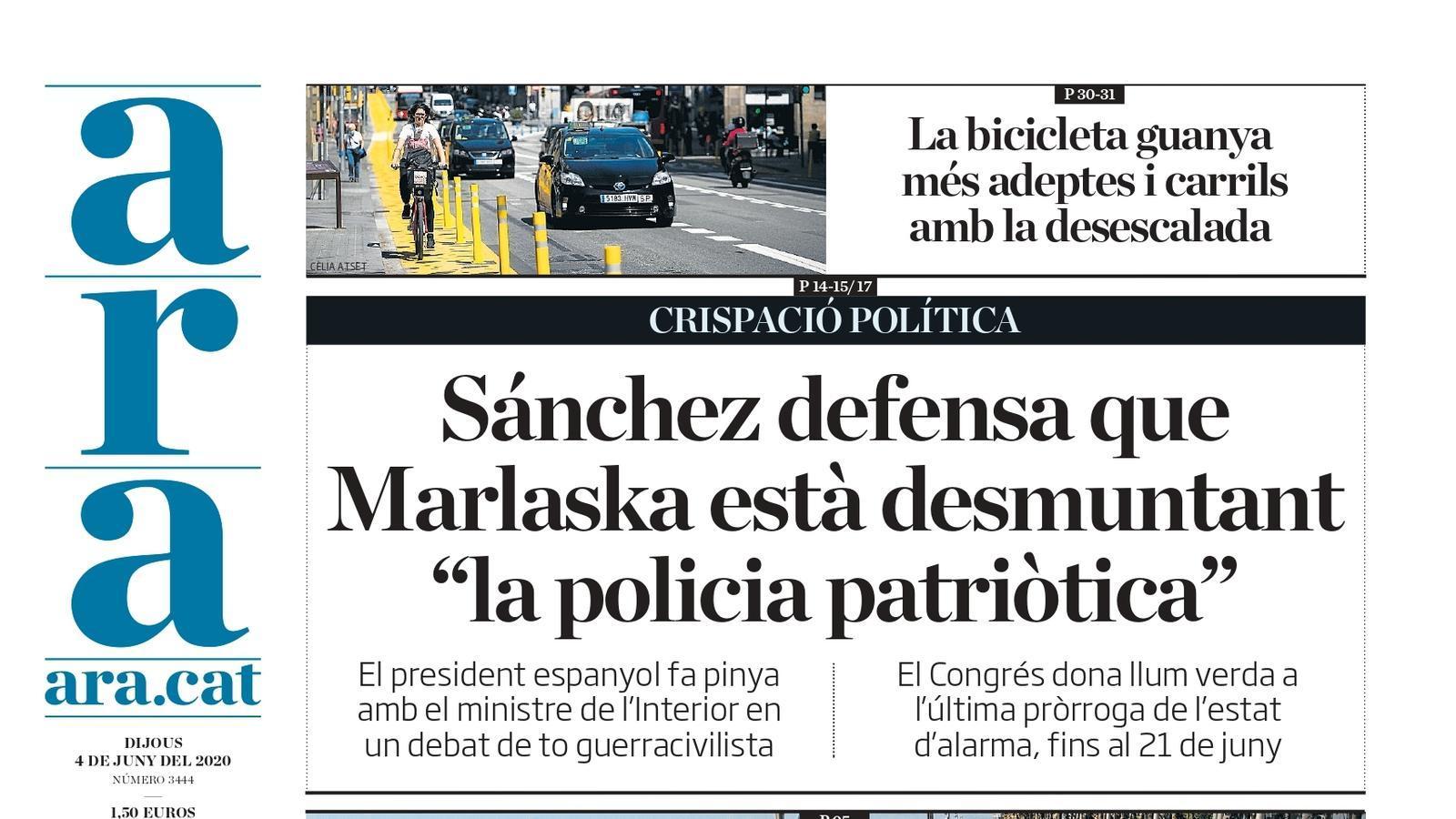 """""""Sánchez defensa que Marlaska està desmuntant «la policia patriòtica»"""", portada de l'ARA"""