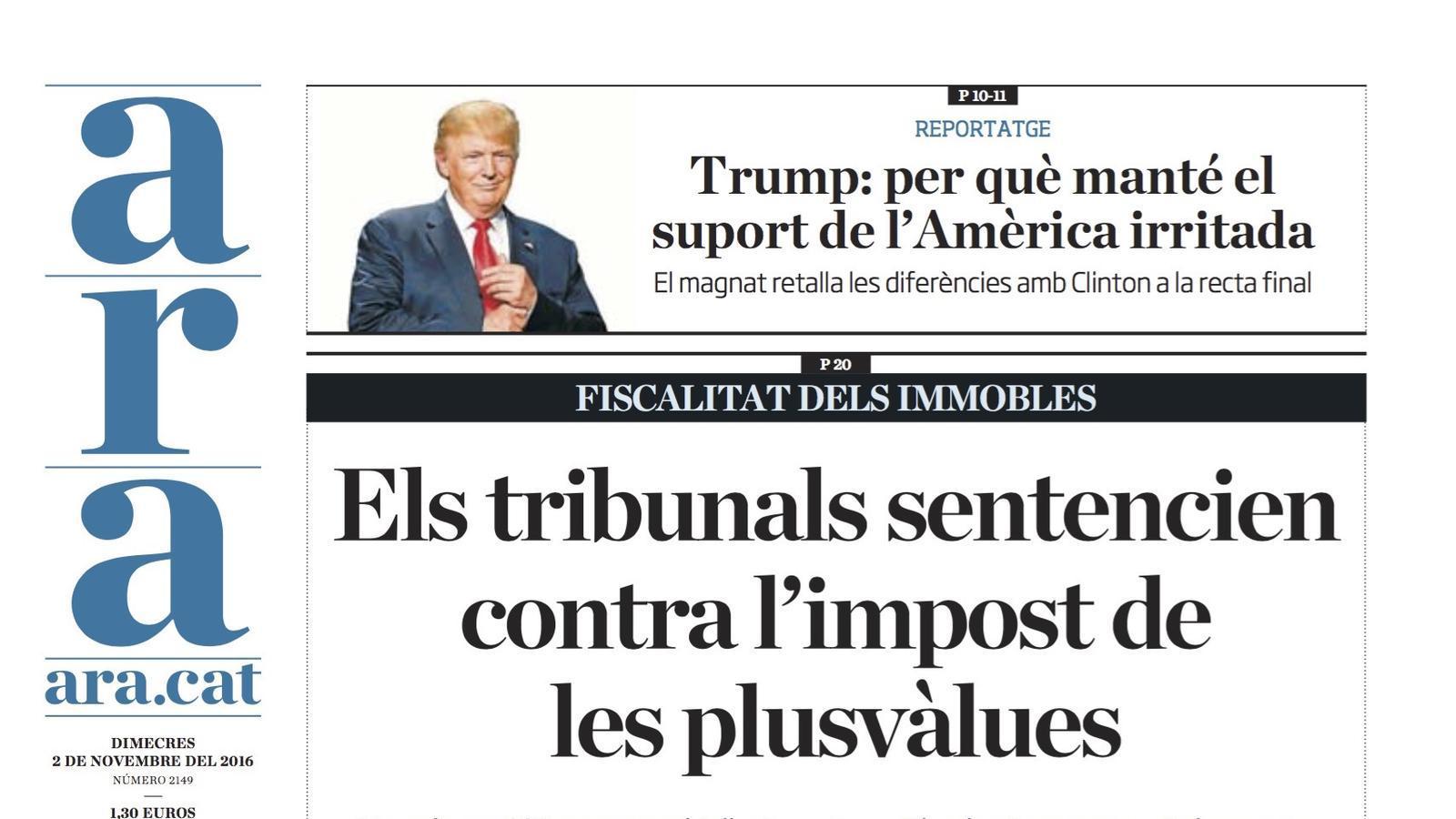 """""""Els tribunals sentencien contra les plusvàlues"""", portada de l'ARA"""
