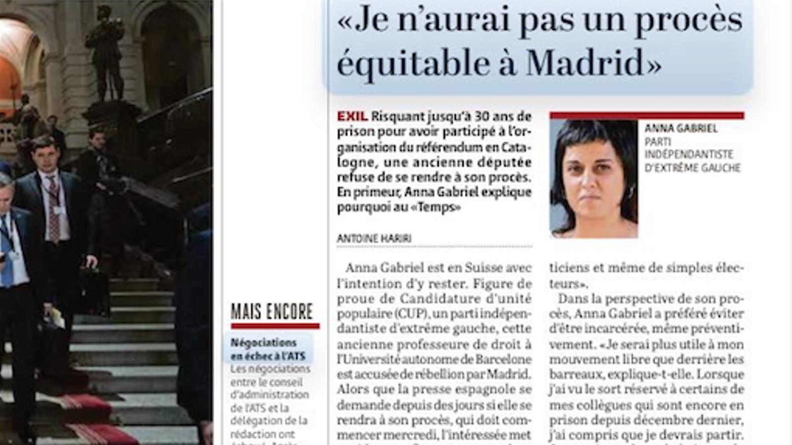 Entrevista a Anna Gabriel, al diari suïs 'Le Temps'