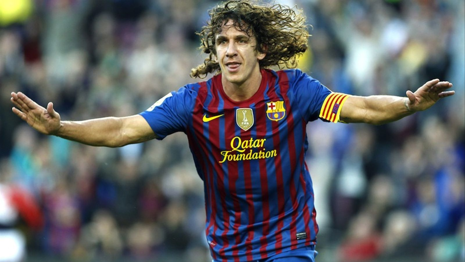 Carles Puyol celebra el seu gol contra el Màlaga