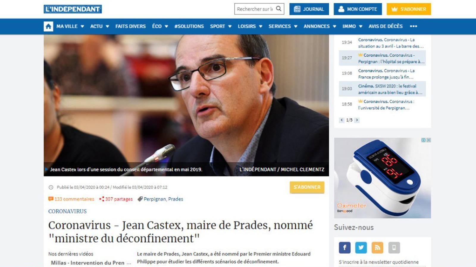 Pàgina web de l'Indépendant.