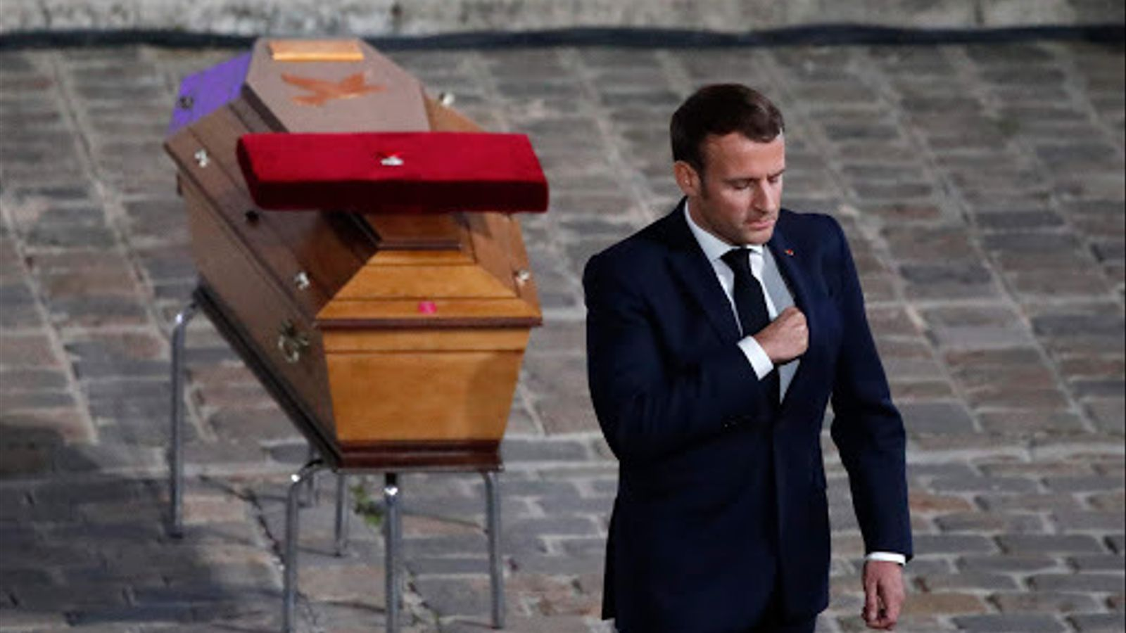El president francès, Emmanuel Macron, aquest dijous durant la cerimònia d'estat en record de Samuel Paty, el professor decapitat divendres als afores de París.