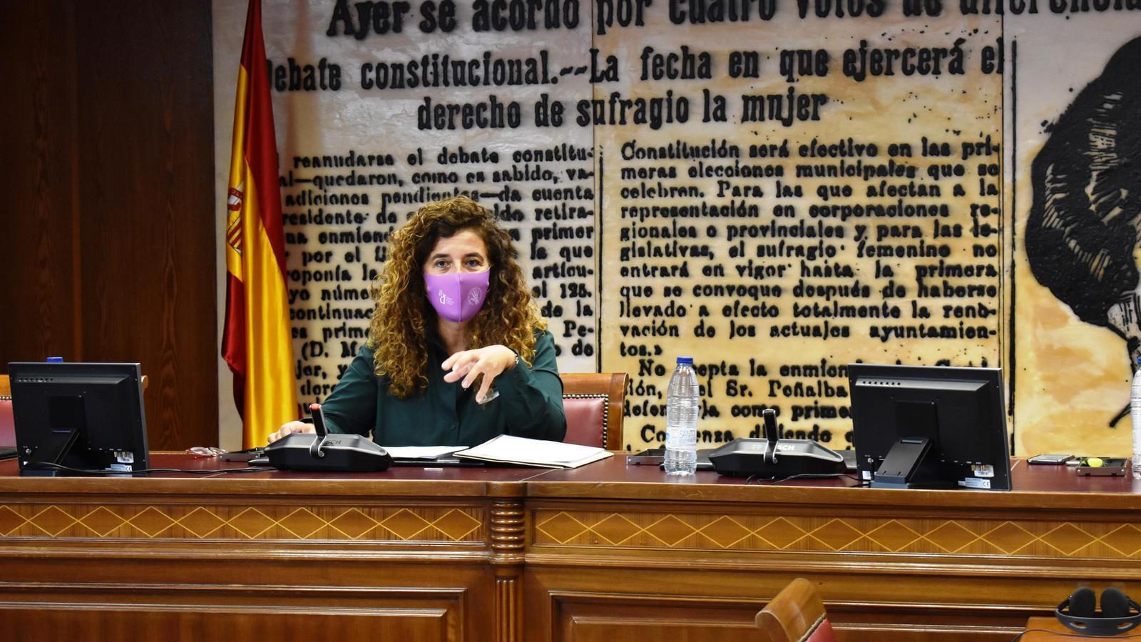 La consellera de Presidència, Cultura i Igualtat, Pilar Costa, durant la seva compareixença davant del Senat