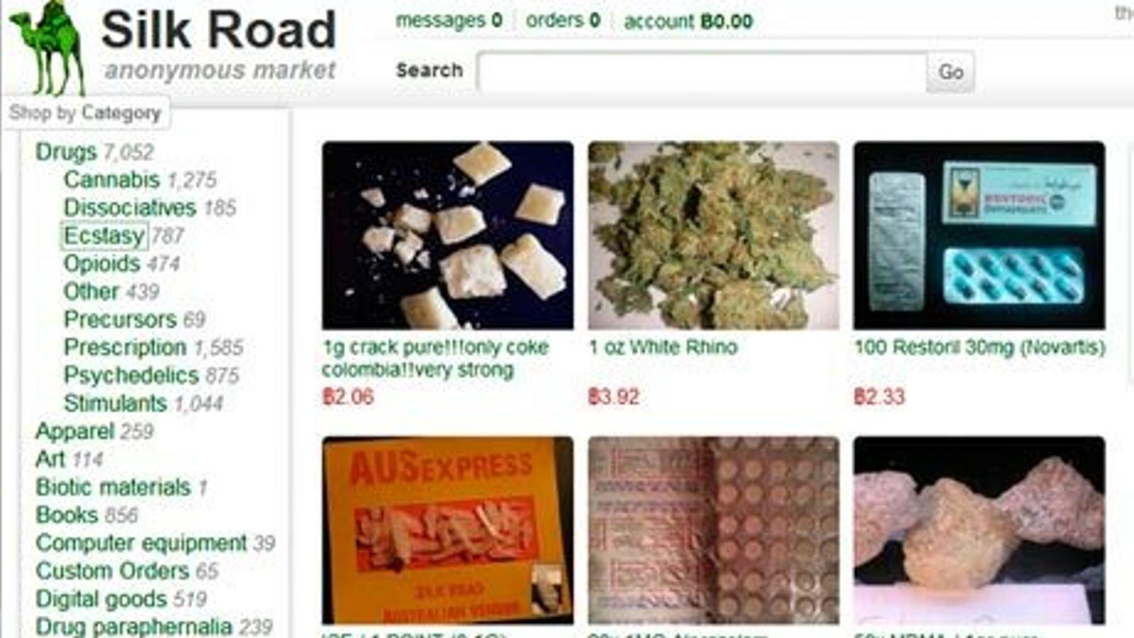 Captura de pantalla de la pàgina Silkroad, amb varis estupefaents a la venda. / Xarxes