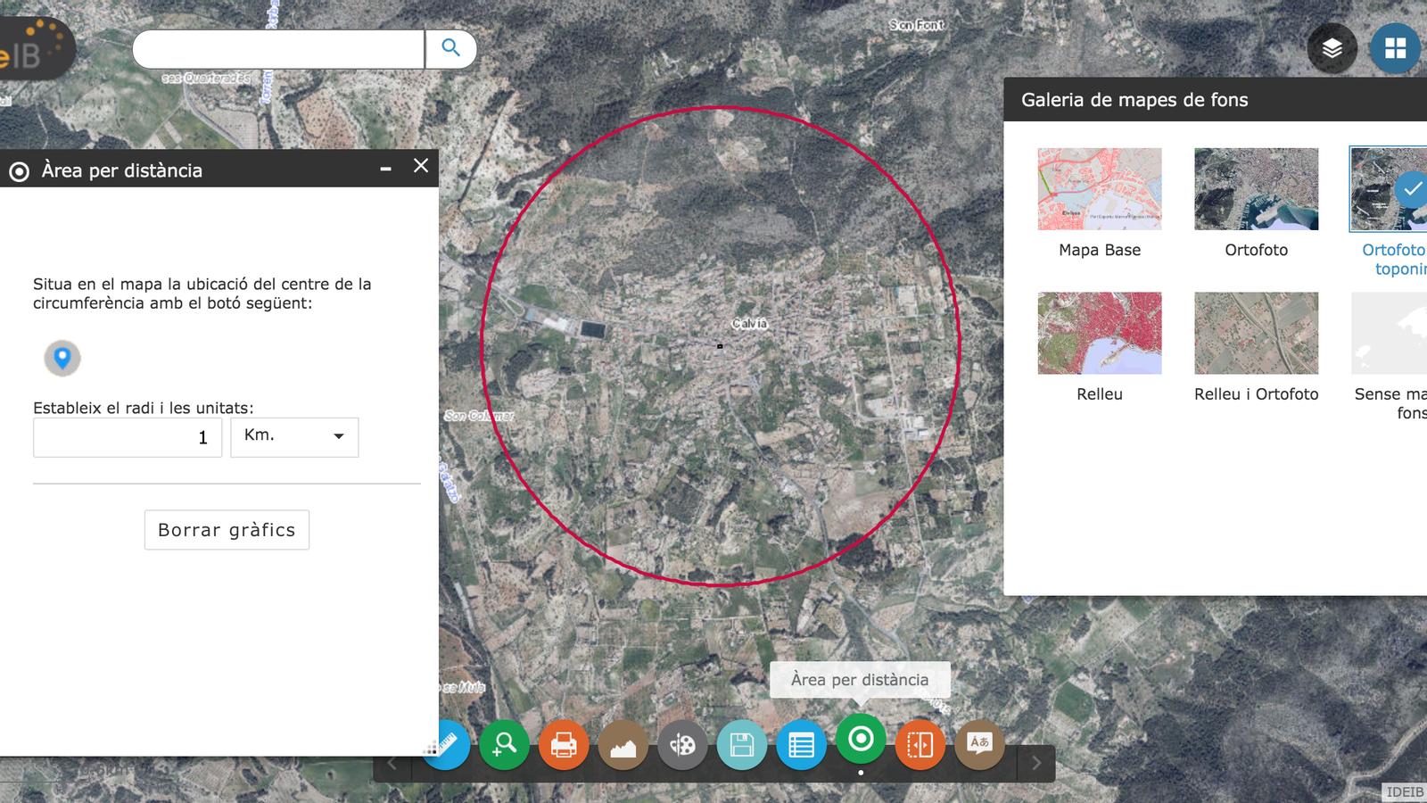 El visor amb totes les funcions per crear circumferències i canviar el tipus de mapa.