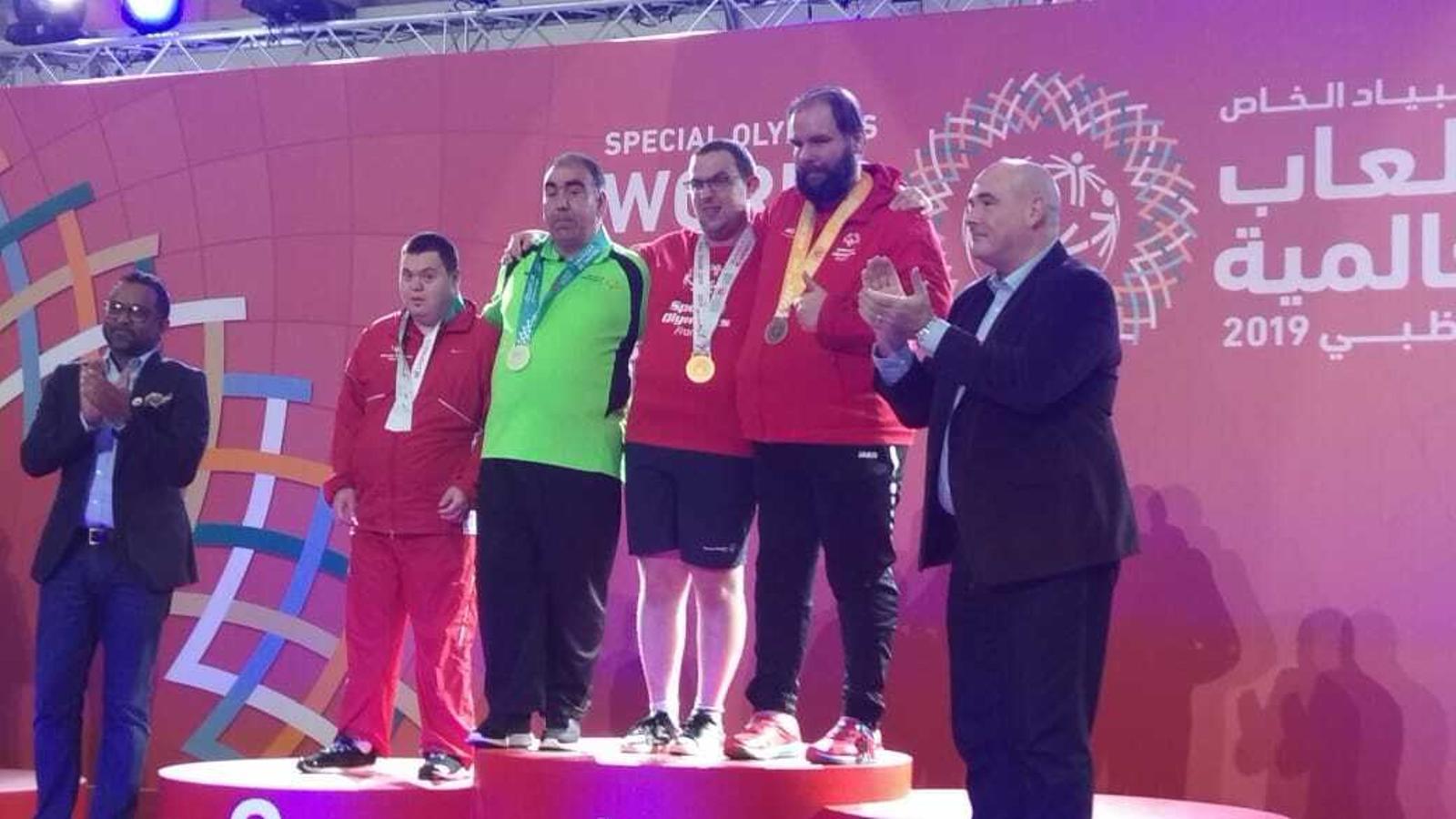 Representació andorrana al podi dels Special Olympics Abu Dhabi. / SPECIAL OLYMPICS