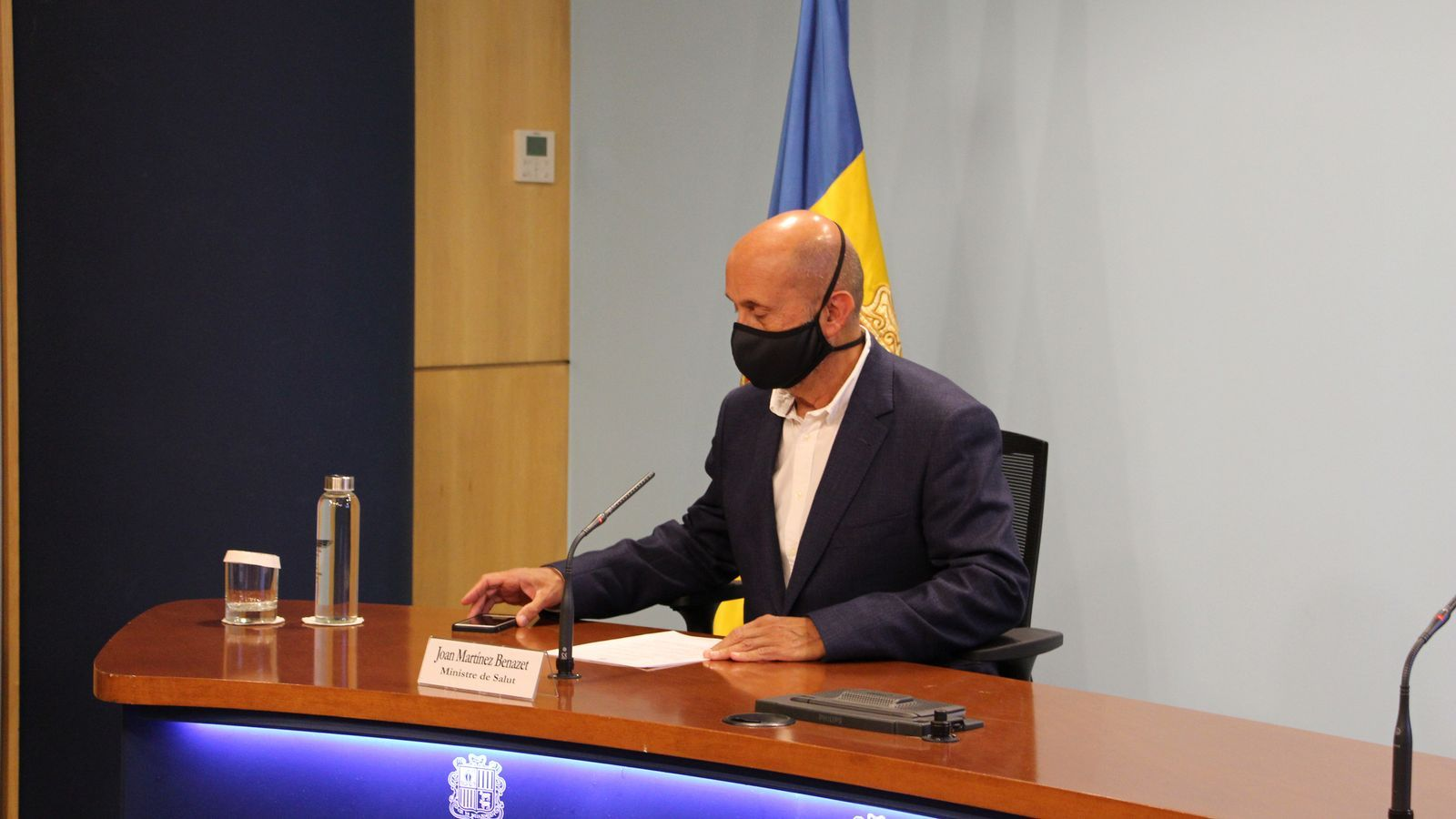 El ministre de Salut, Joan Martínez Benazet, durant la roda de premsa / AS
