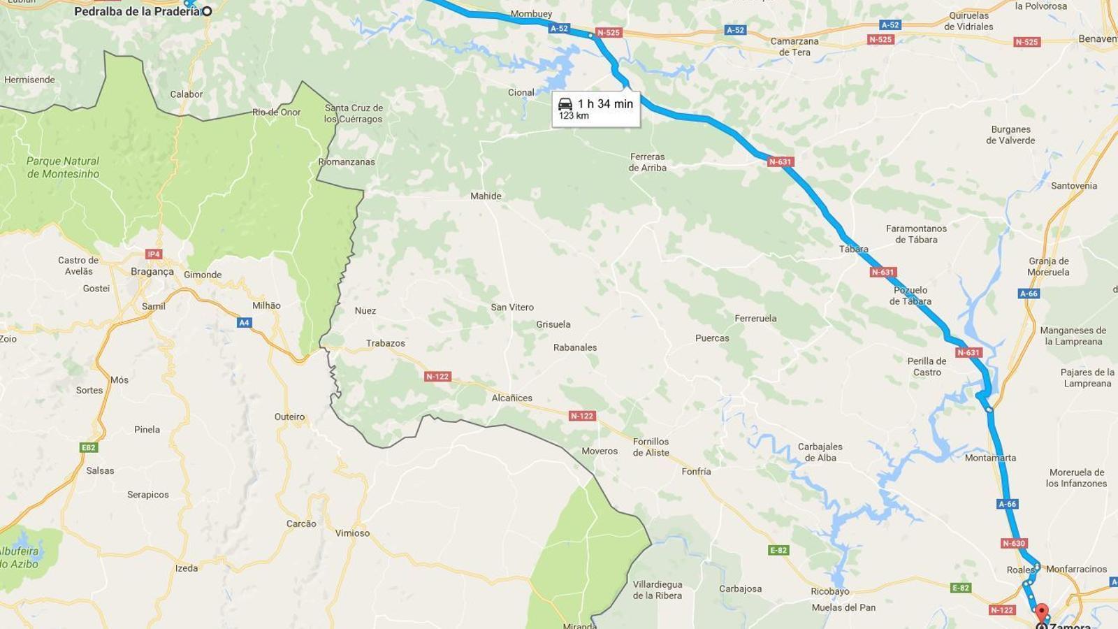 Captura de Google Maps: trams Zamora-Pedralba de la Pradería