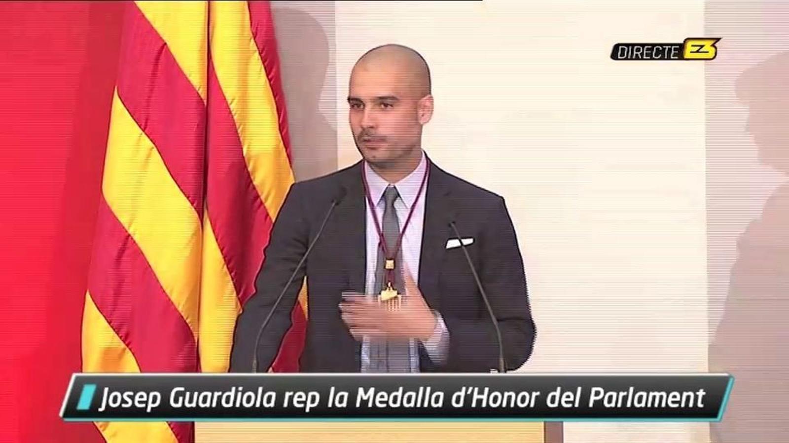 Guardiola en rebre la Medalla d'Honor del Parlament: Si ens aixequem ben d'hora i sense retrets, som un país imparable