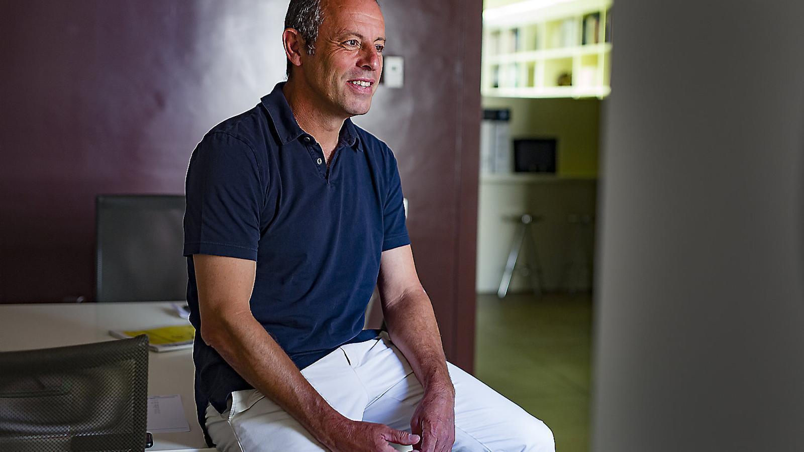 Sandro Rosell, al seu despatx de Barcelona, on va ser detingut el 2017.