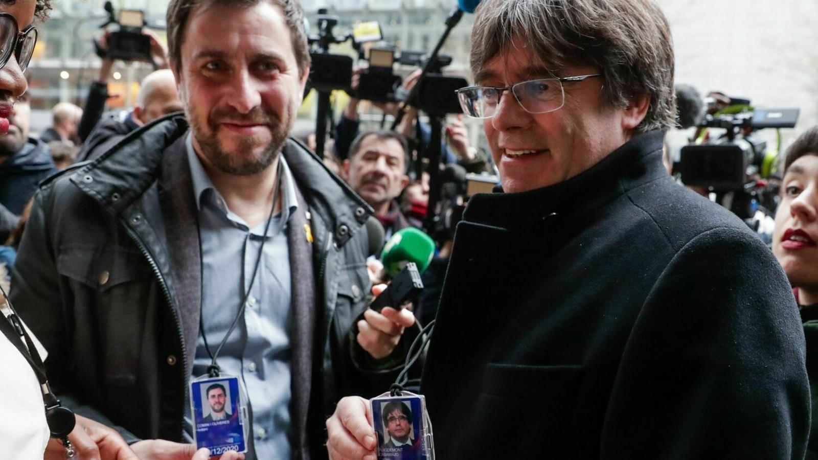 Puigdemont i Comín, divendres al Parlament Europeu / JOHANNA GERON/ REUTERS