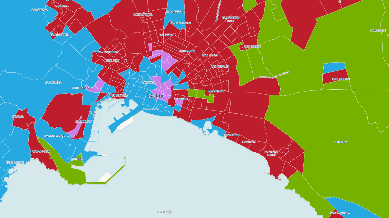 Captura de pantalla del mapa dels resultats electorals del 10-N per seccions censals.