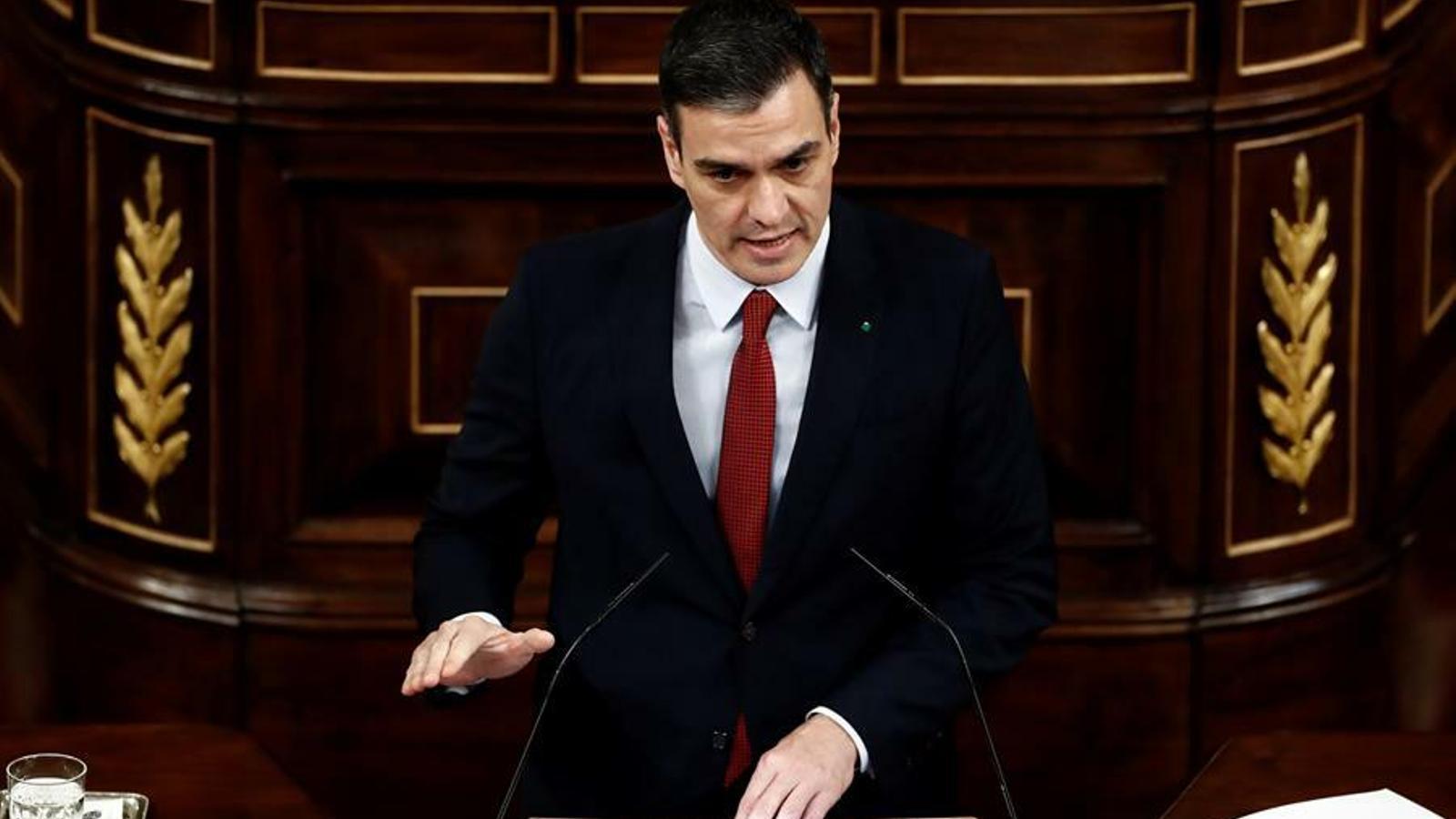 El president del govern espanyol, Pedro Sánchez, en compareixença al Congrés