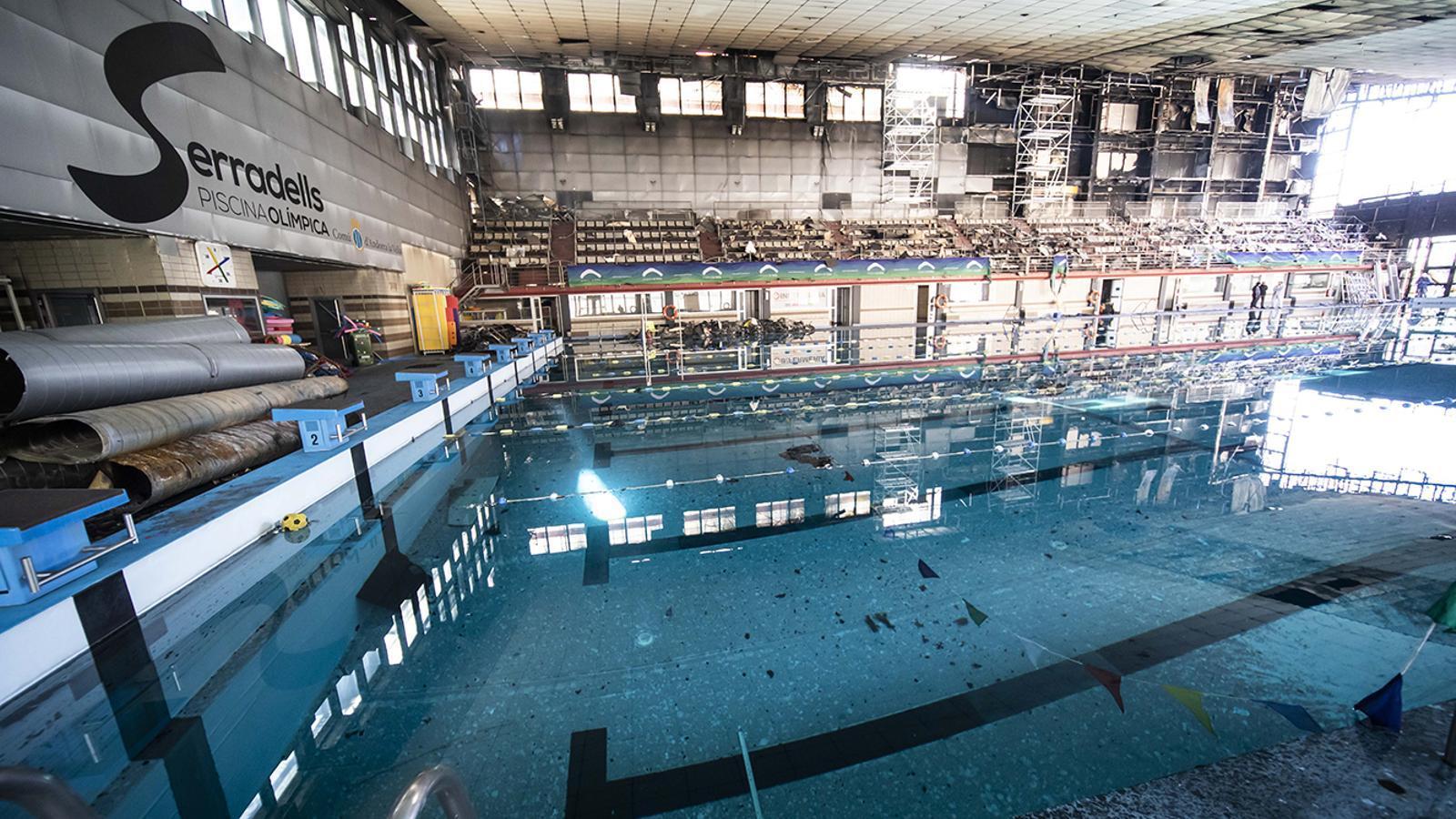 Estat en què es troba la piscina dels Serradells. / Comú d'Andorra la Vella