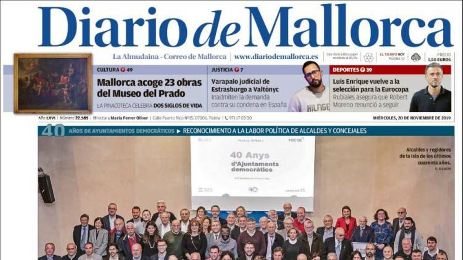 """""""Els comptes del Govern passen el primer tràmit però l'oposició alerta sobre un nou forat"""", portada de 'Diario de Mallorca'"""