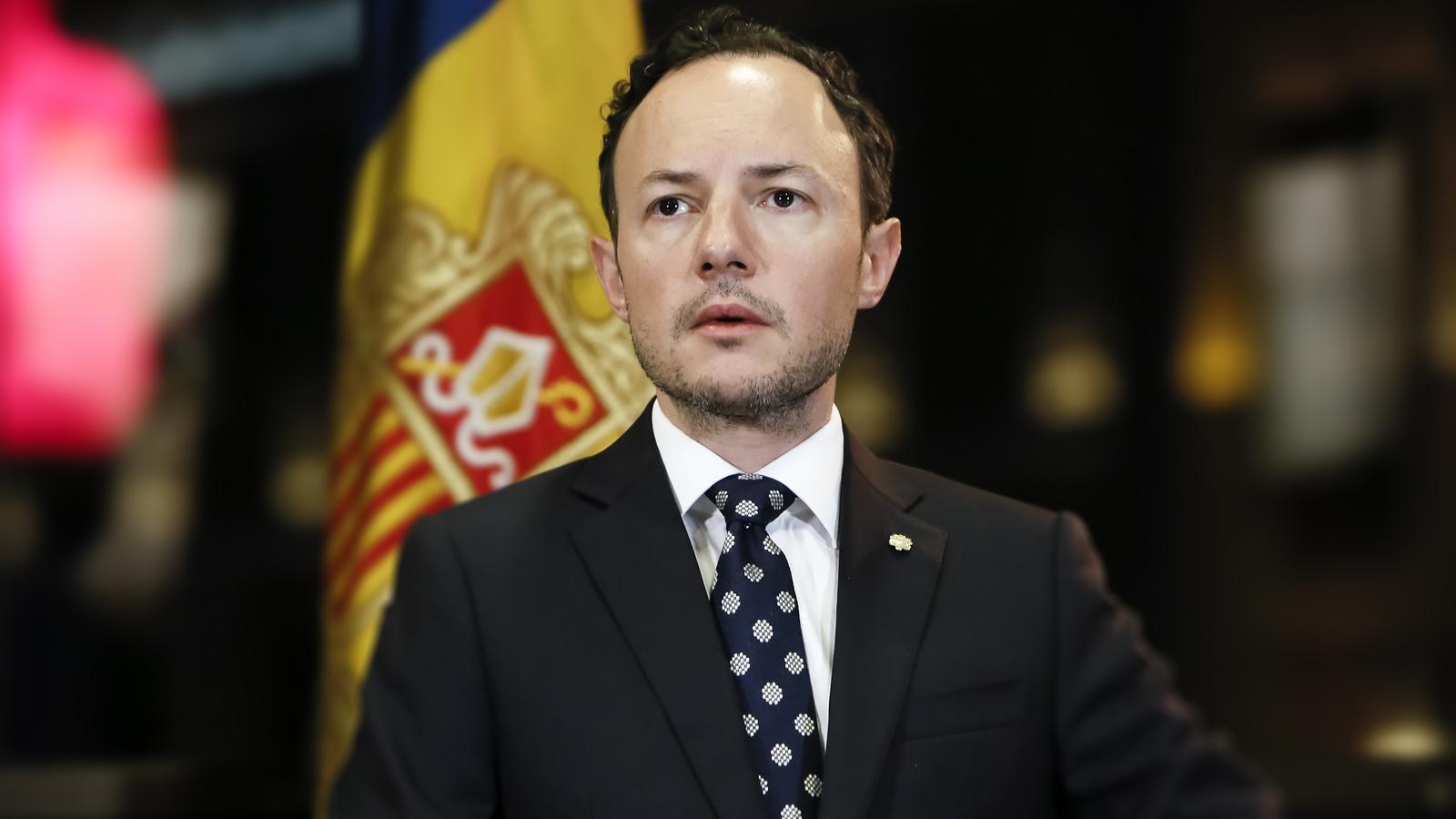 El cap del Govern, Xavier Espot, durant la seva intervenció aquest dissabte al vespre. / SFG