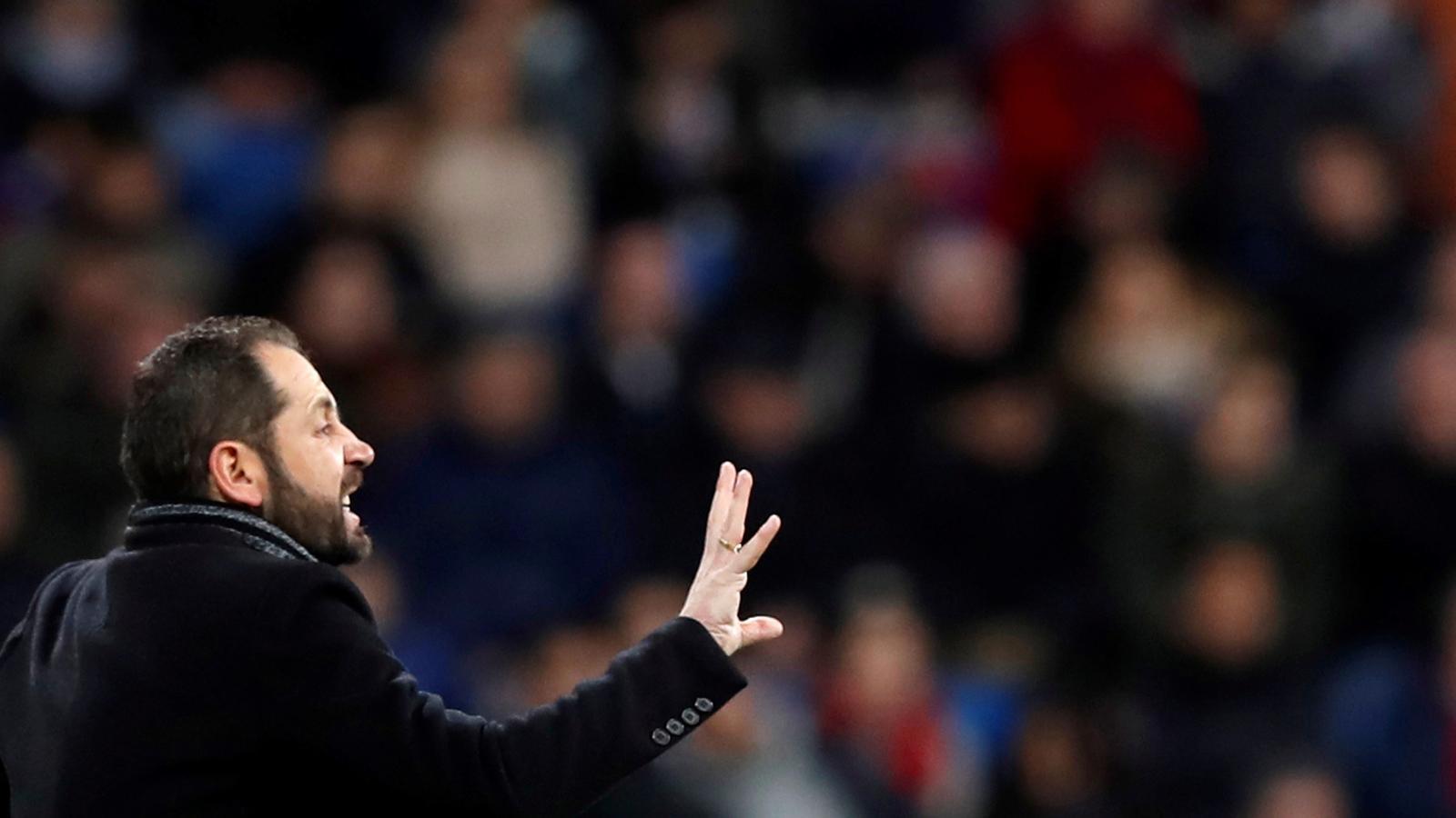 Pablo Machín al Santiago Bernabéu durant el Madrid-Girona