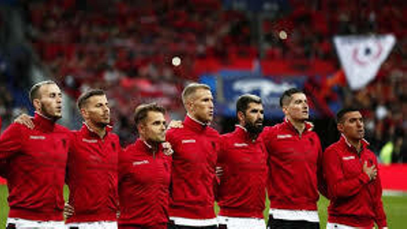 Els jugadors albanesos.