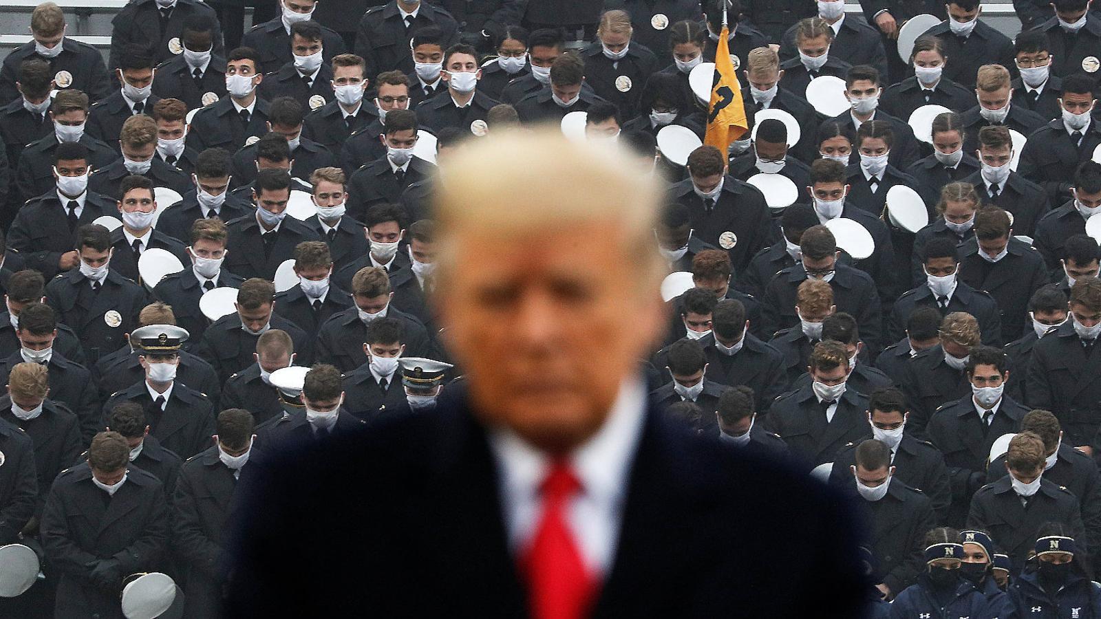 Trump en  Un acte a l'acadèmia militar de West Point dissabte passat.