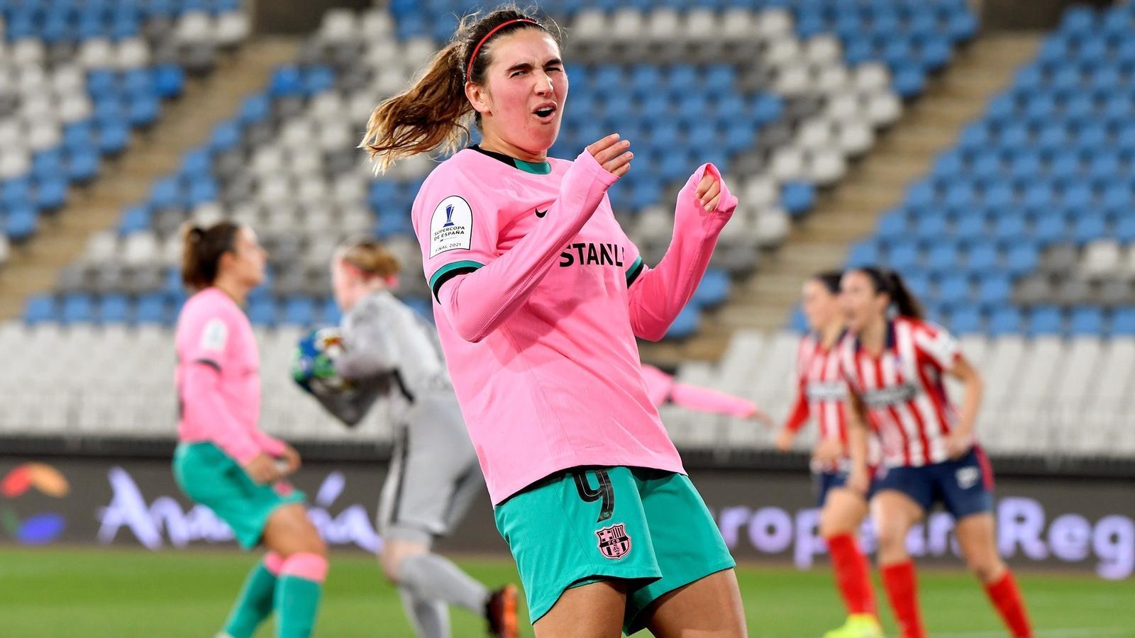 Mariona Caldentey durant el partit contra l'Atlètic de Madrid