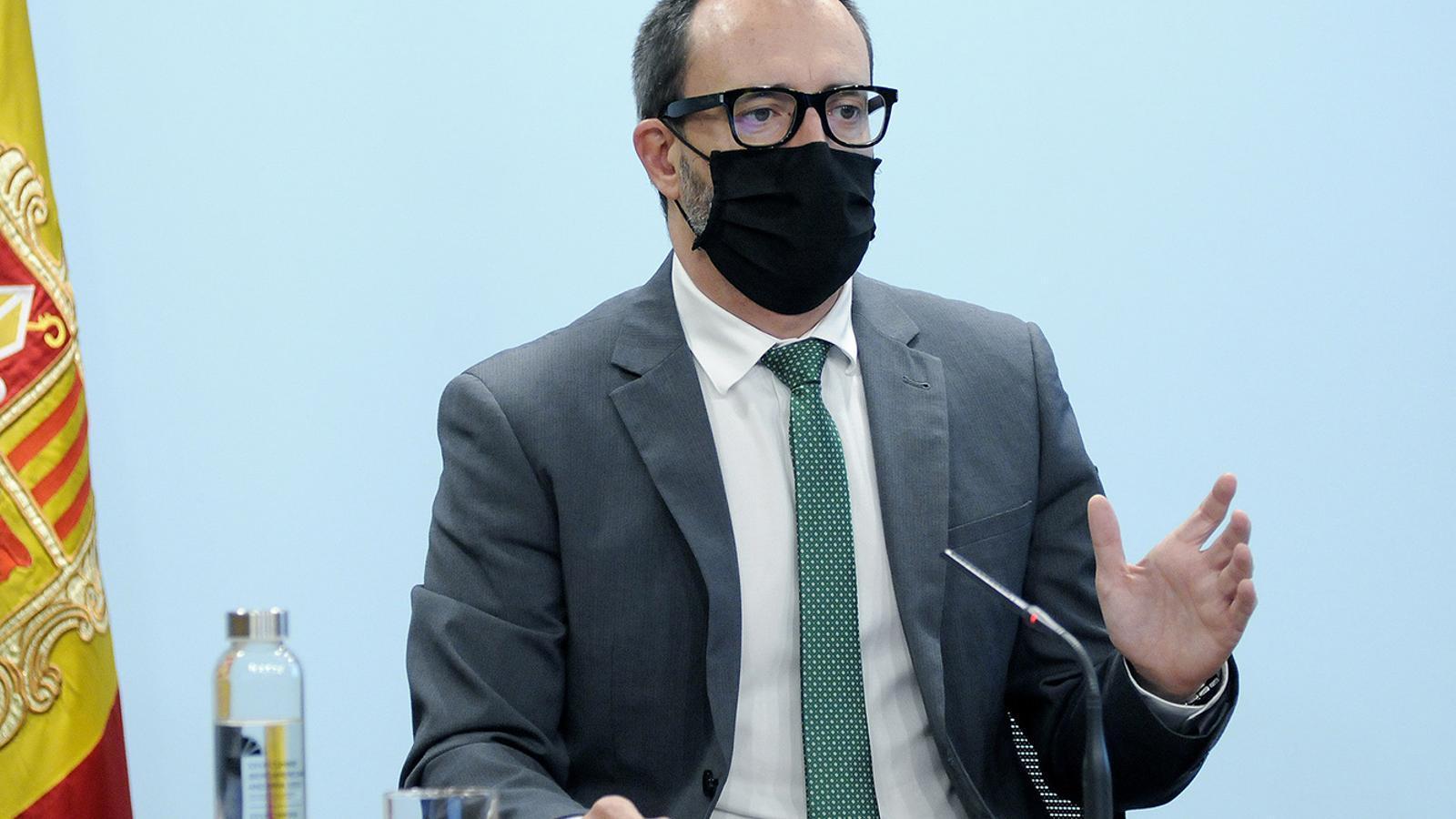 El ministre d'Afers Socials, Habitatge i Joventut, Víctor Filloy, durant la roda de premsa / SFG