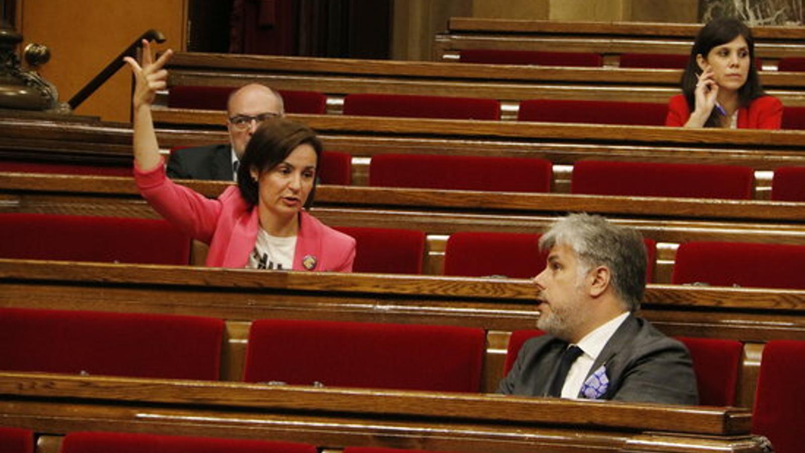 Anna Caula (ERC) i Albert Batet (JxCat) durant la votació d'aquest matí al ple del Parlament