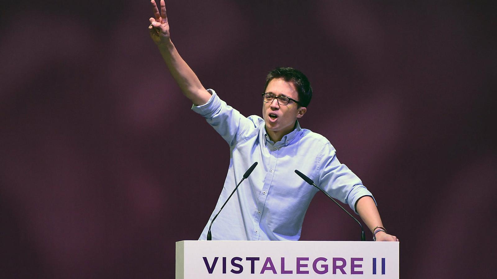 Íñigo Errejón a l'assemblea de Podem de Vistalegre II el febrer del 2017, d'on va sortir derrotat per Iglesias.