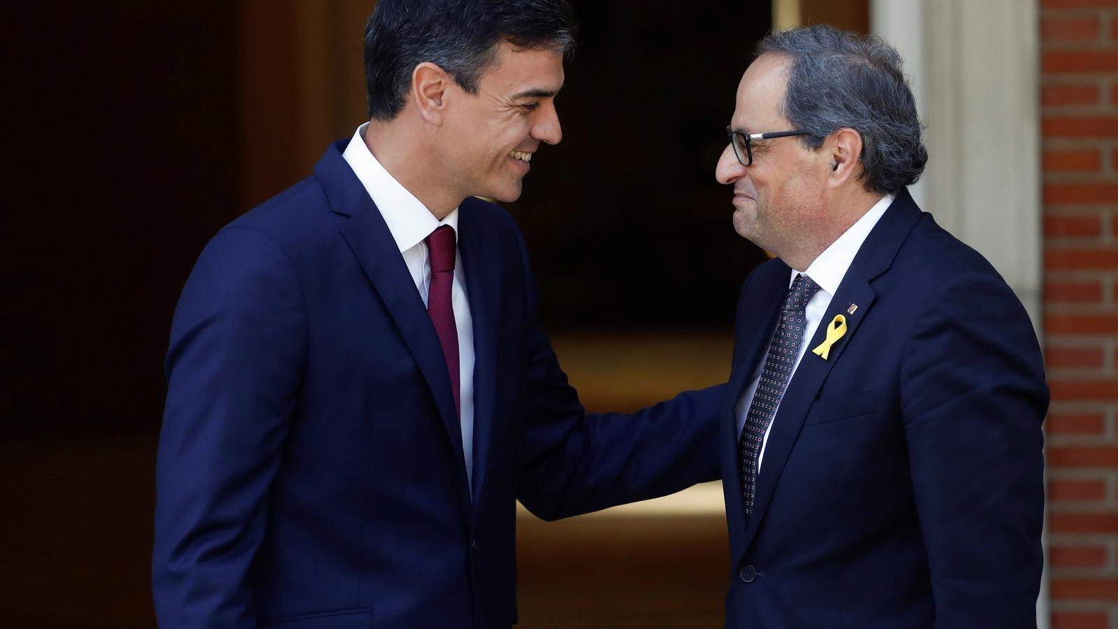 Pedro Sánchez i Quim Torra en la reunió entre presidents del juliol del 2018