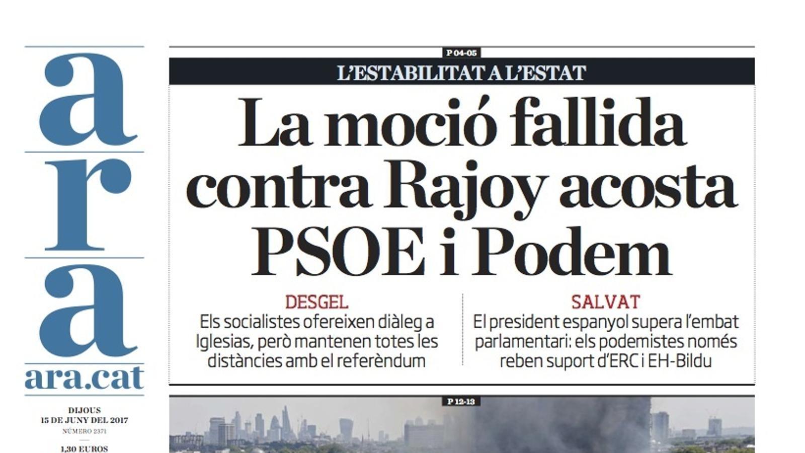 """""""La moció fallida contra Rajoy acosta PSOE i Podem"""", portada de l'ARA"""