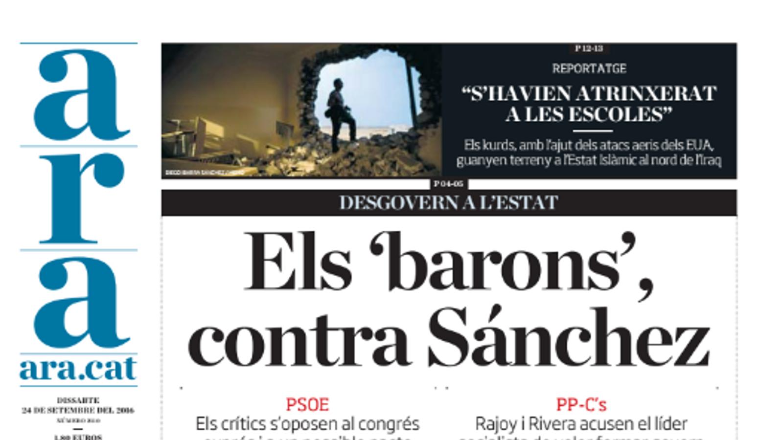 """""""Els 'barons' contra Sánchez"""", portada de l'ARA d'aquest dissabte"""