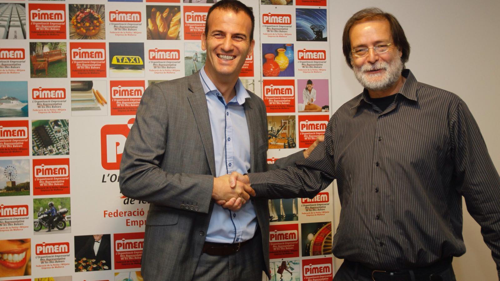 Jordi Mora i Antoni Mas, aquest dijous durant la roda de premsa.