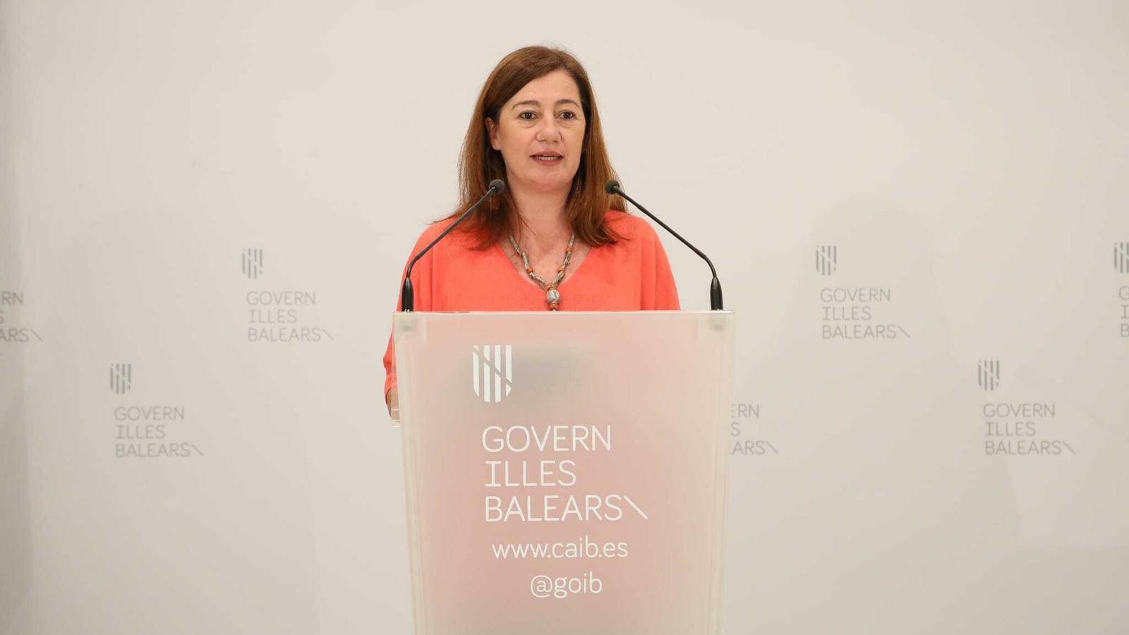 La presidenta del Govern balear, Francina Armengol, durant la seva compareixença aquest diumenge