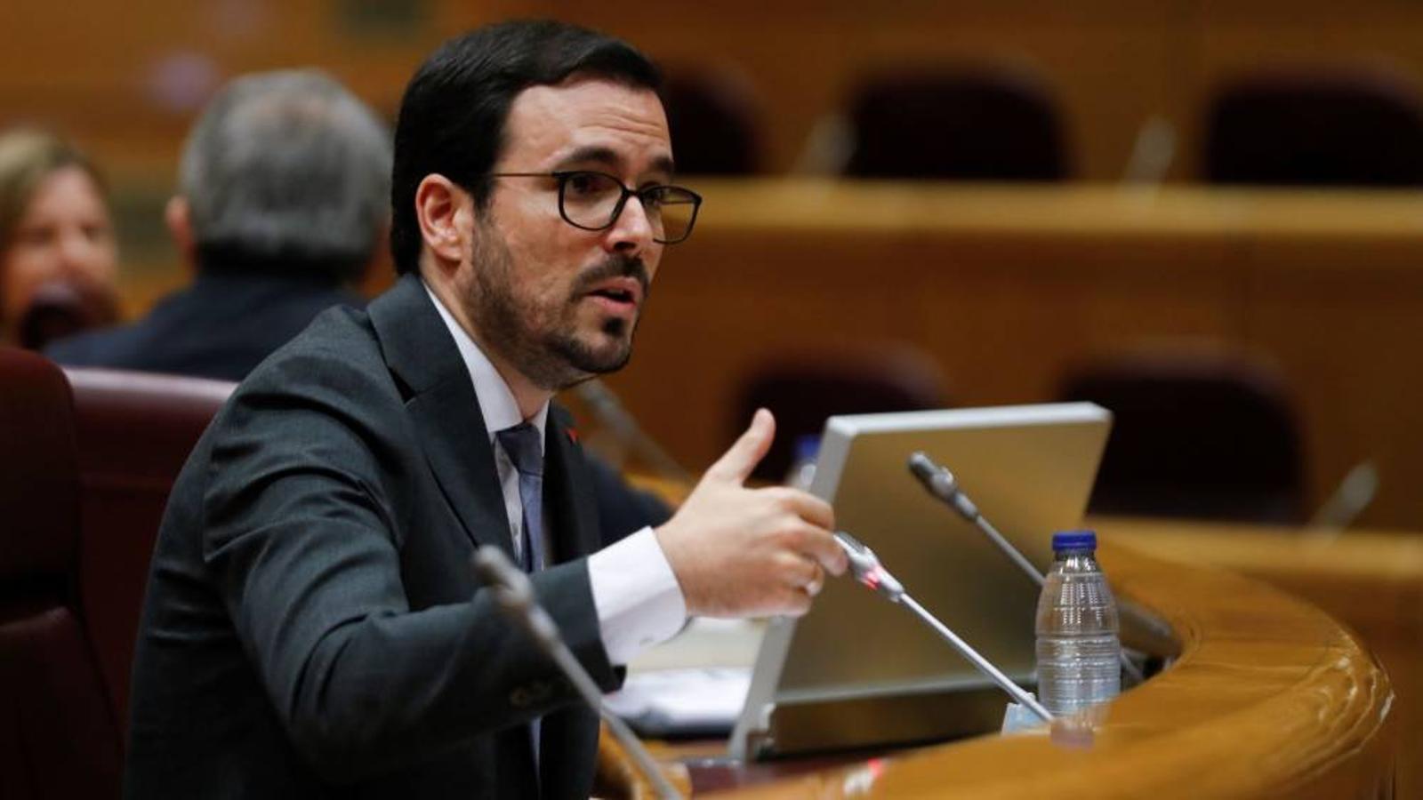 El ministre de Consum, Alberto Garzón, durant una compareixença al Senat / EFE