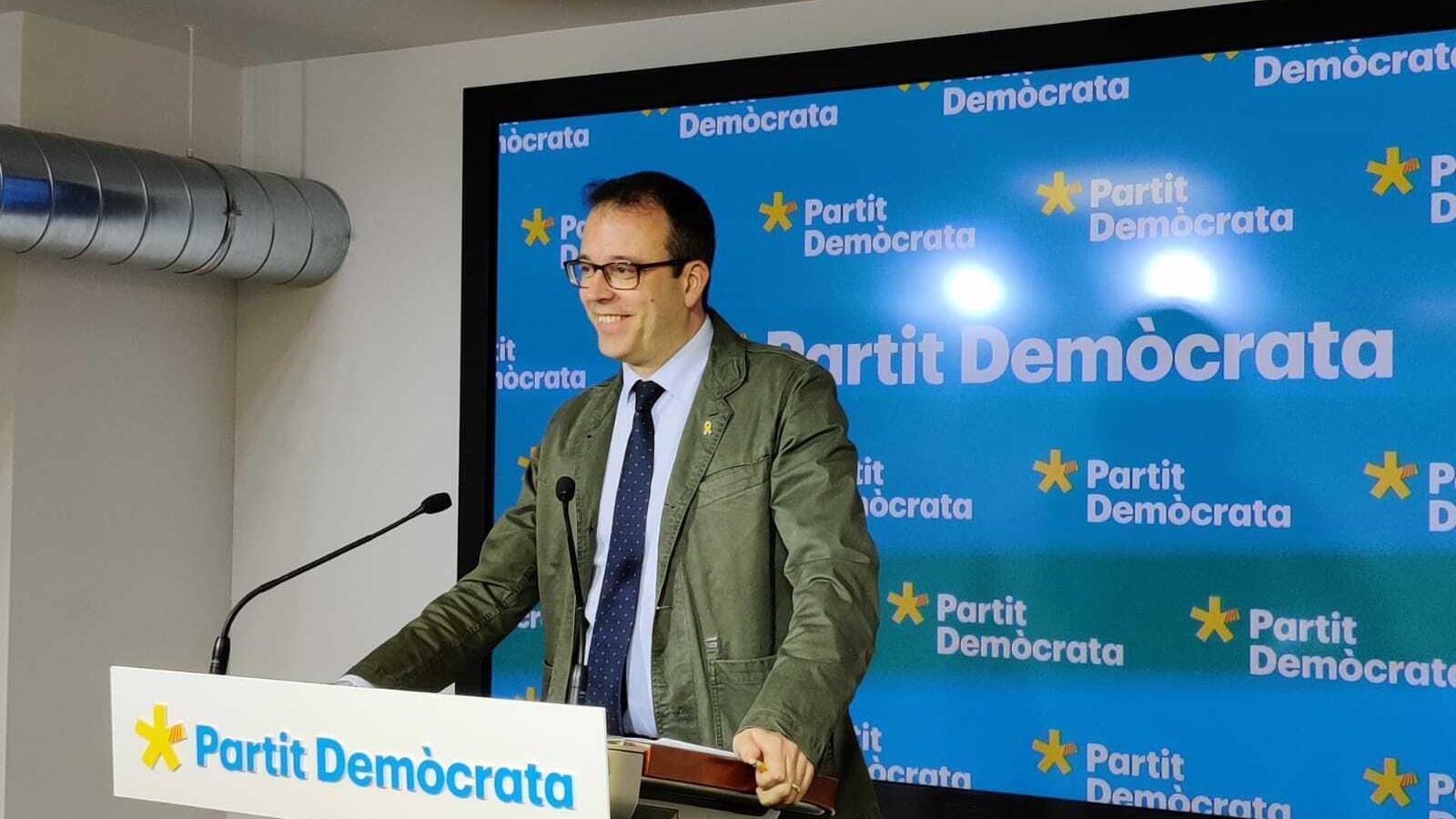 Marc Solsona en la roda de premsa del PDECat