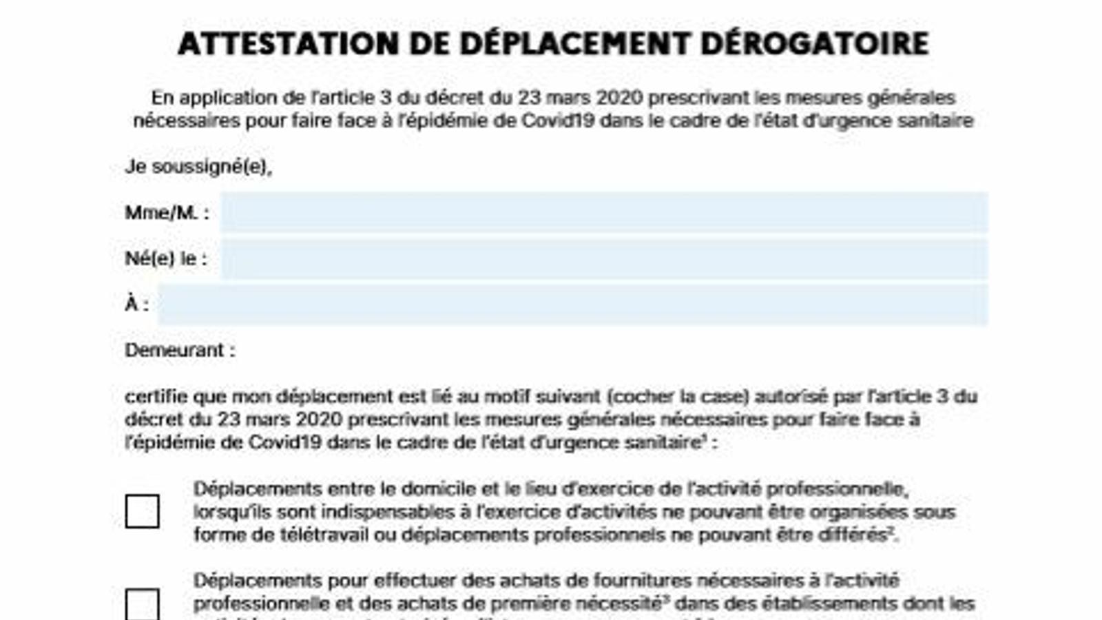Document per sortir al carrer a França.