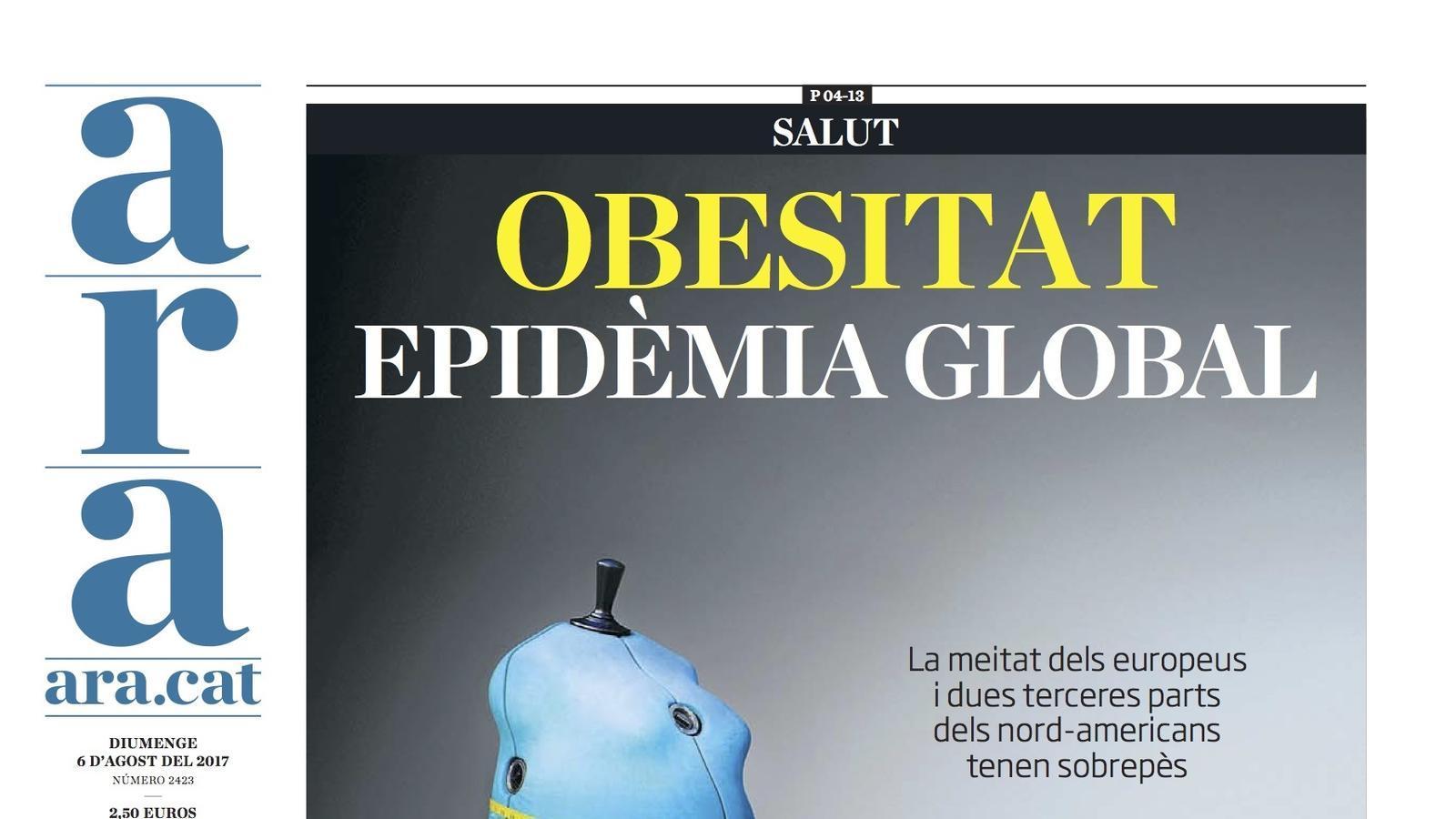 """""""Obesitat, epidèmia global"""", portada de l'ARA"""