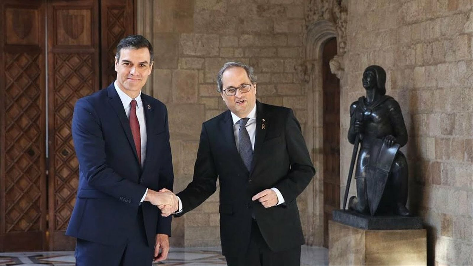Reunió entre Quim Torra i Pedro Sánchez al Palau de la Generalitat