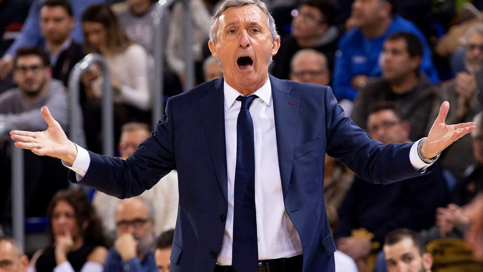 L'entrenador del Barça Lassa de bàsquet, Svetislav Pesic, reclamant una acció polèmica en un partit d'Eurolliga d'aquesta temporada.