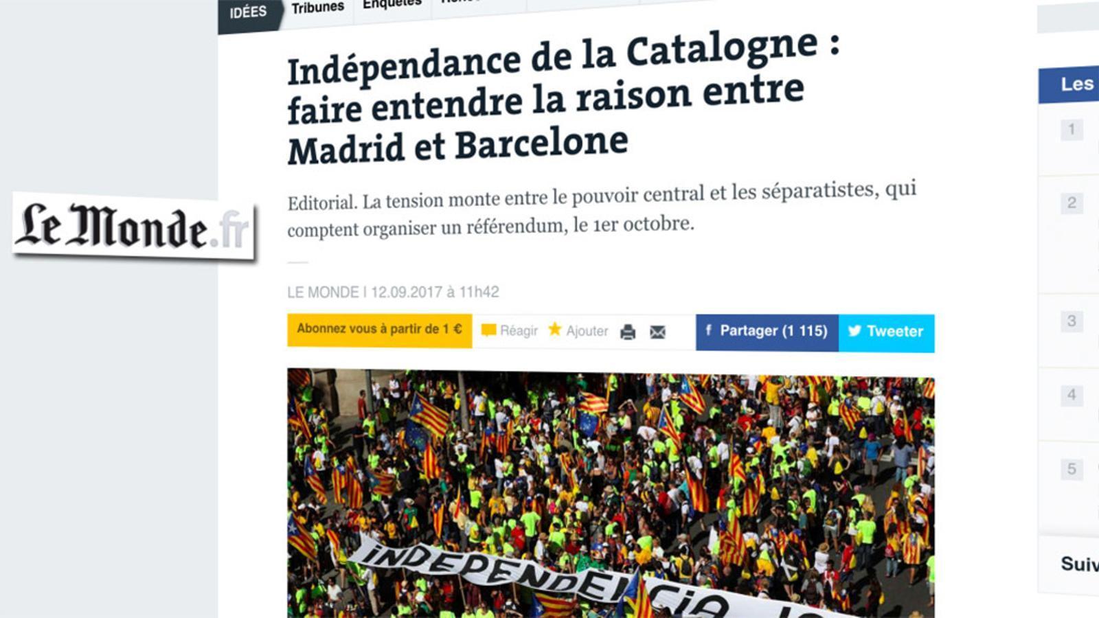 L'anàlisi d'Antoni Bassas: ''Le Monde' també demana un referèndum'