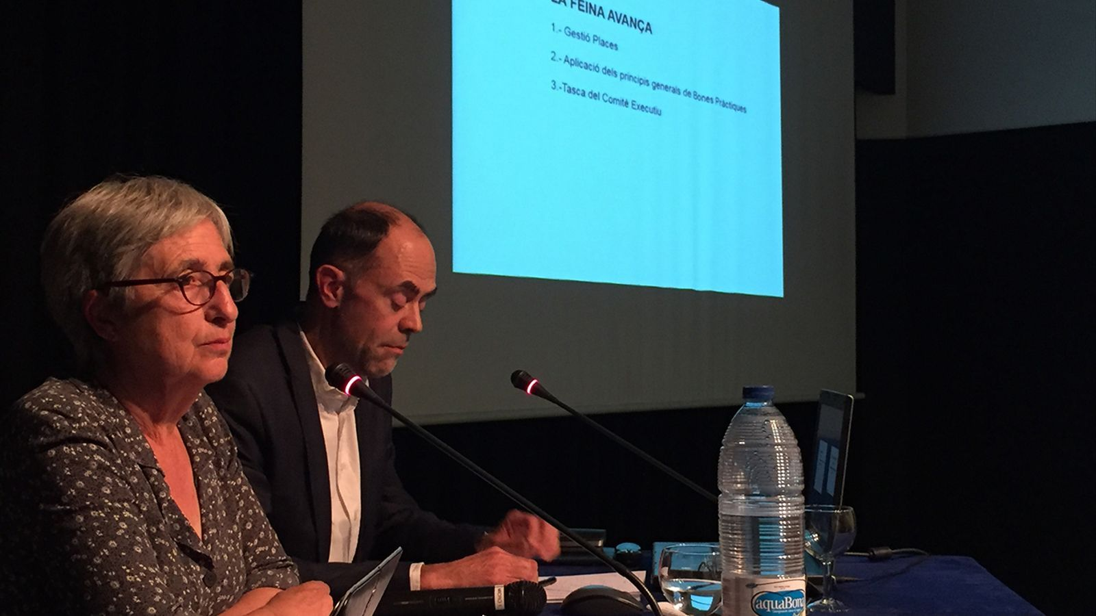 La presidenta de l'Associació de Comerciants del Centre Històric, Anna Riberaygua, i el secretari Enric Bartumeu, durant l'assemblea de l'entitat. / ACCH