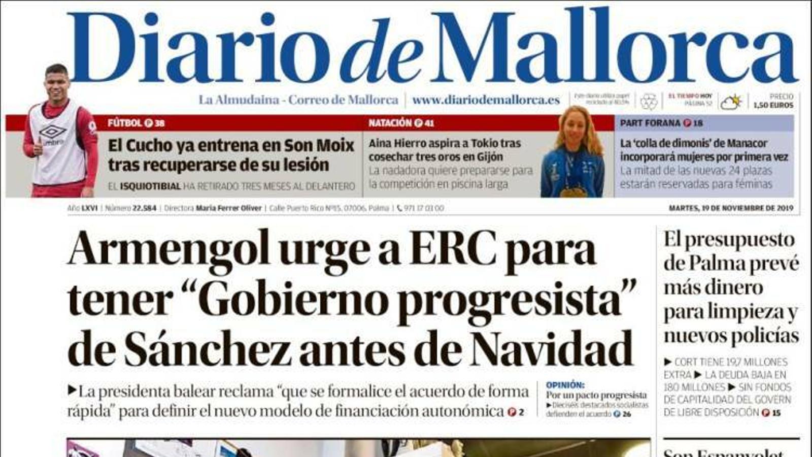 """""""Armengol urgeix a ERC per a tenir """"Govern progressista"""" de Sánchez abans de Nadal"""", a la portada de 'Diario de Mallorca'"""