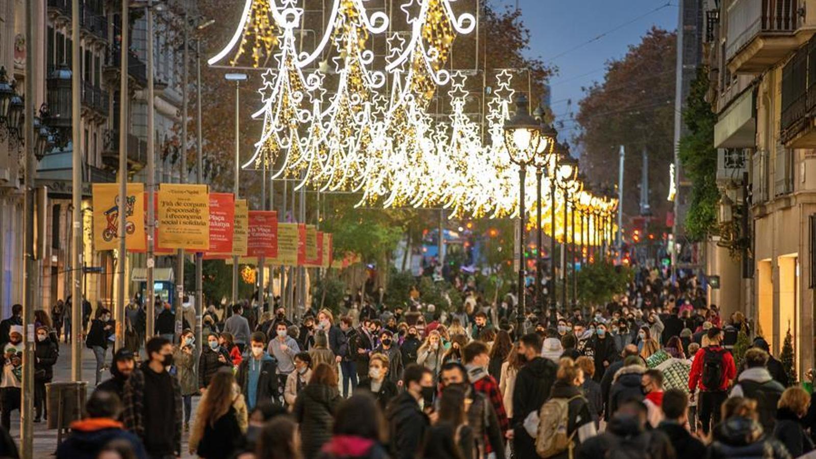 Ambient al centre de Barcelona, aquest divendres al vespre