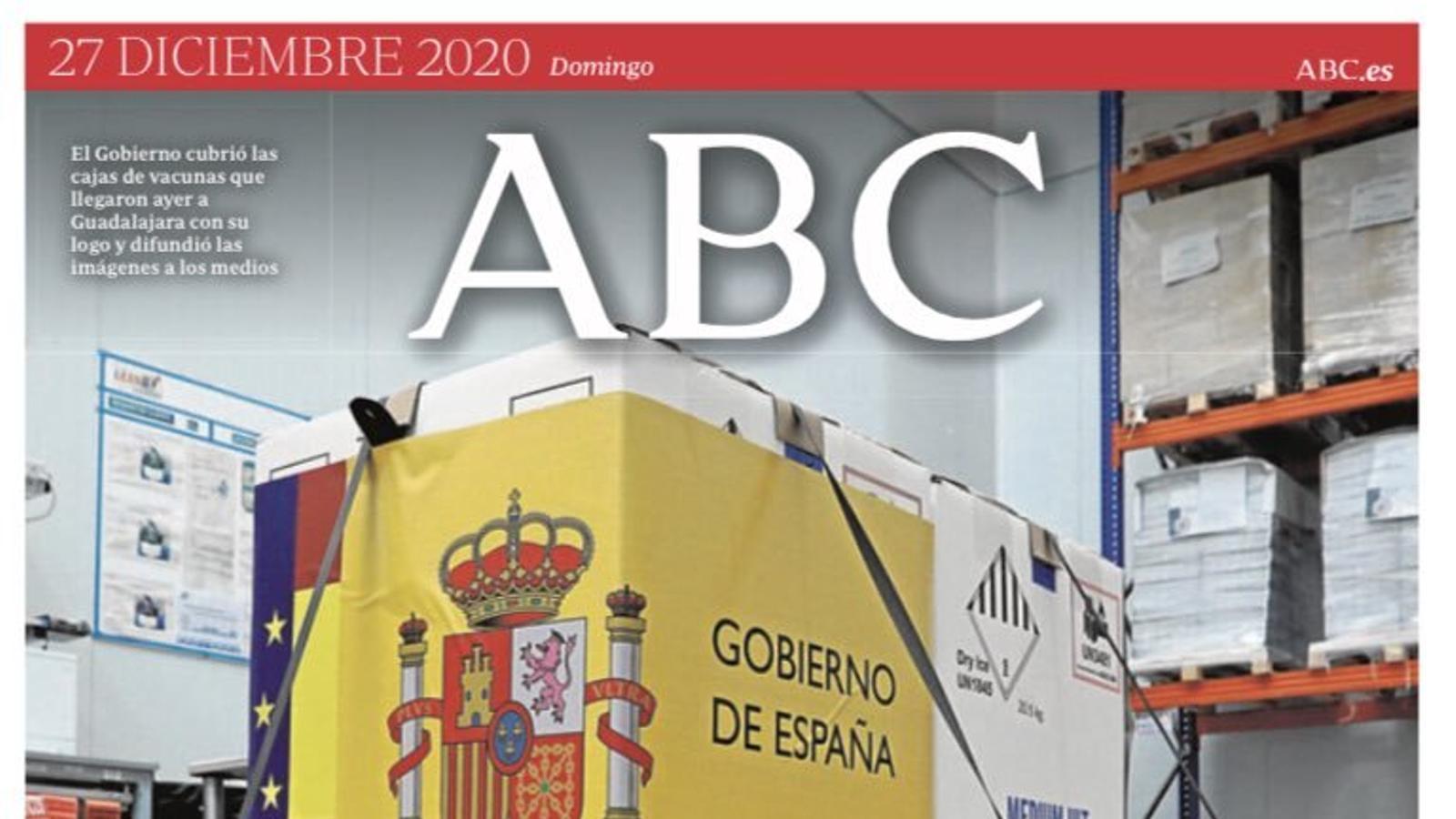 Portada de l'Abc, 27 de desembre del 2020