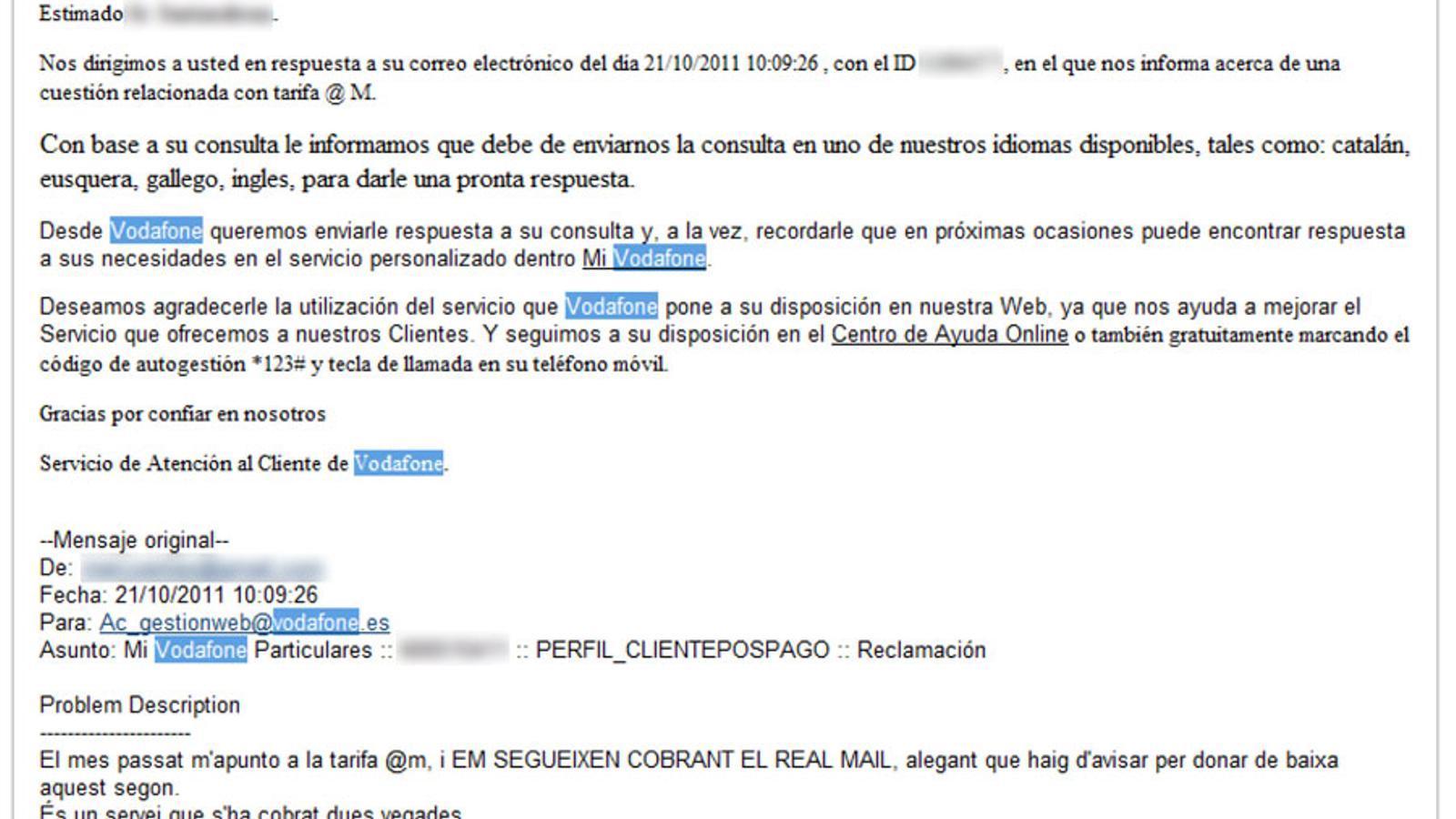 Vodafone no entén un mail en català i demana al client que ...