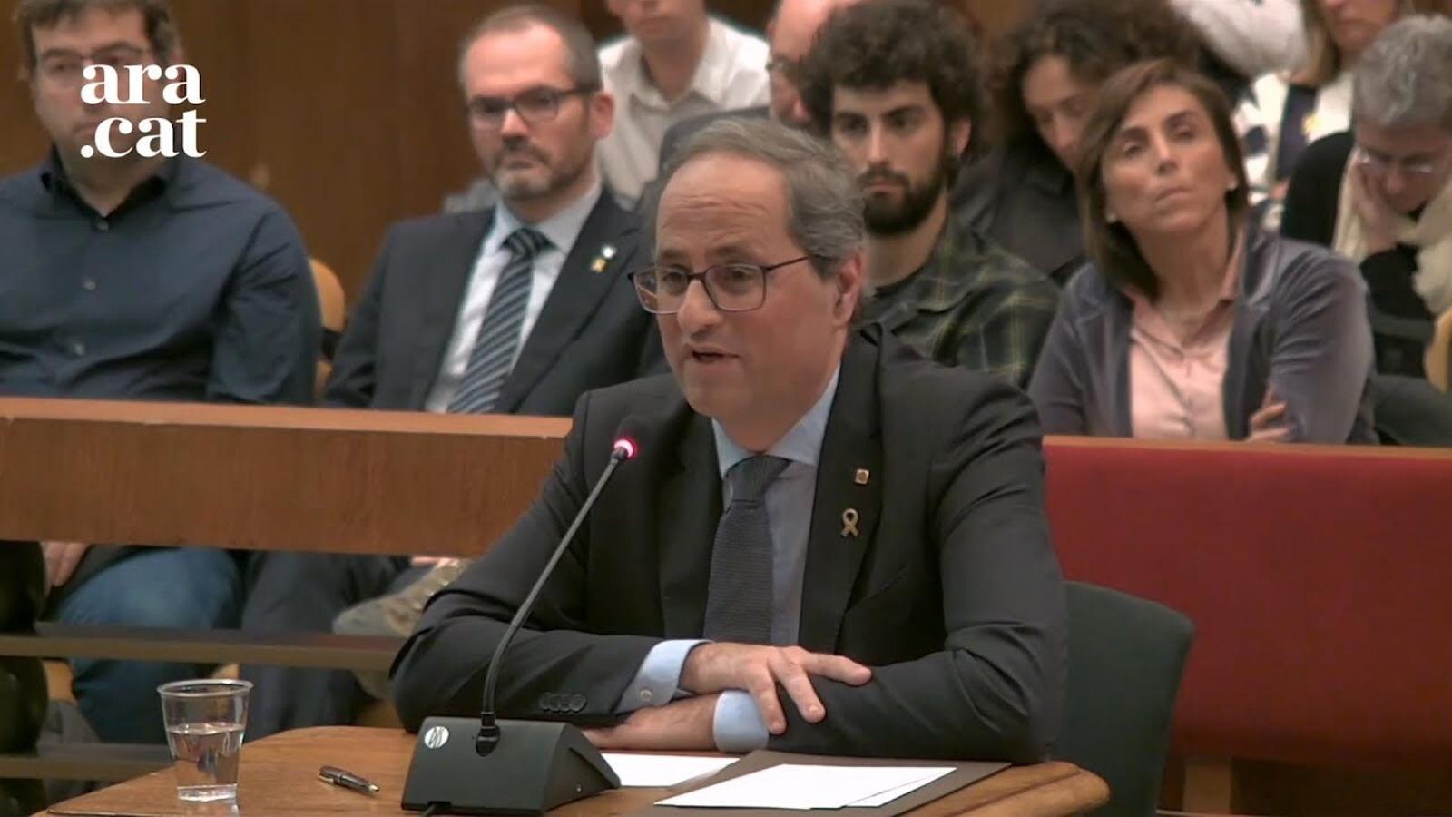 """Torra, al TSJC: """"Aquest judici polític vol senzillament alterar el panorama polític català"""""""