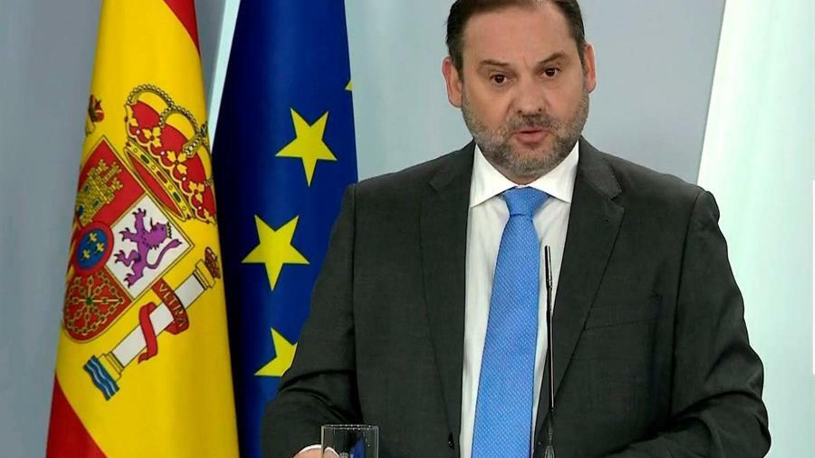 El ministre de Transports, Mobilitat i Agenda Urbana, José Luis Ábalos, en una compareixença