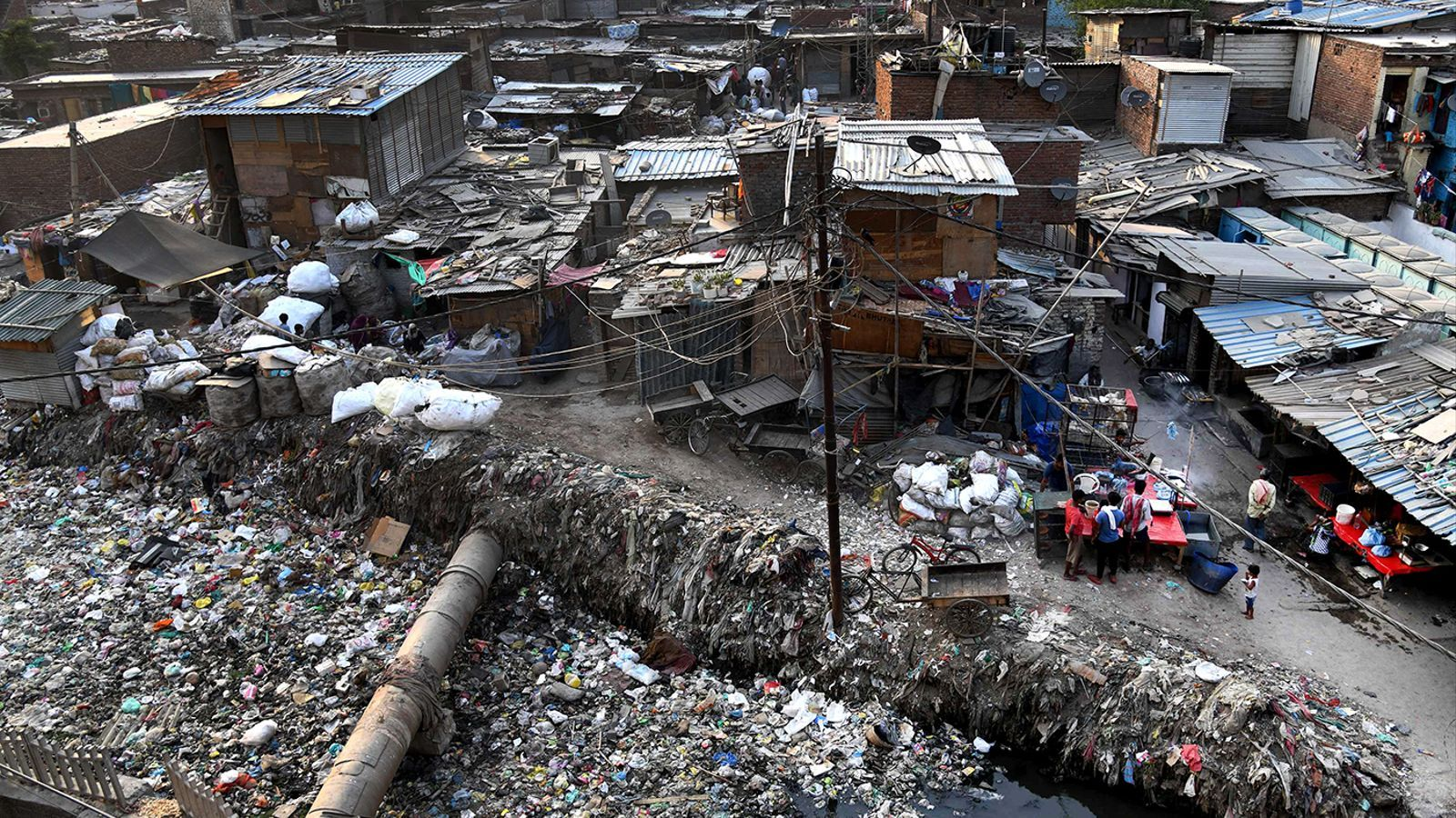 Taimur Nagar shantytown area in New Delhi, India