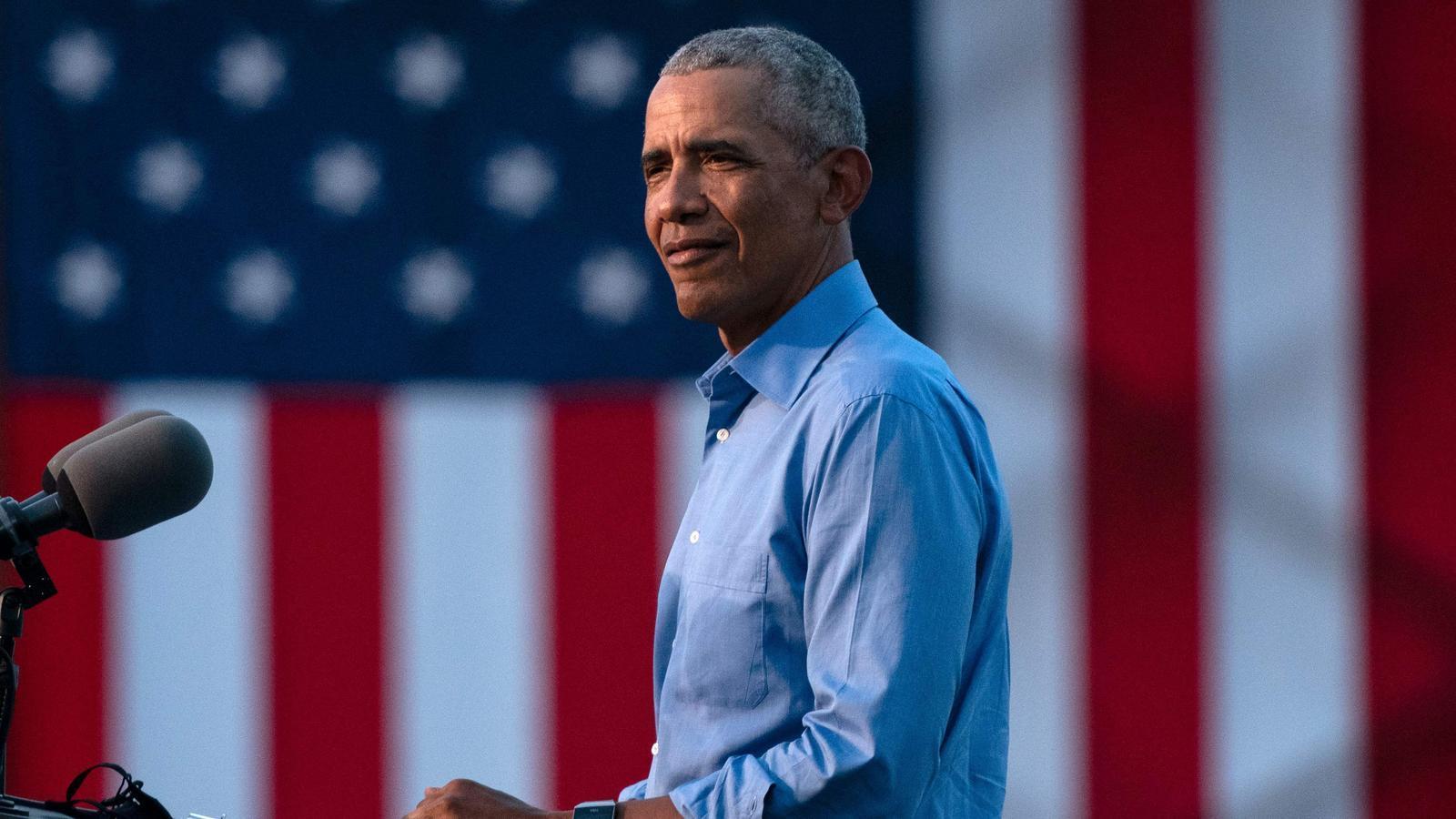 Barack Obama durant el seu discurs de campanya pro-Biden a Filadèlfia, Pennsilvània.